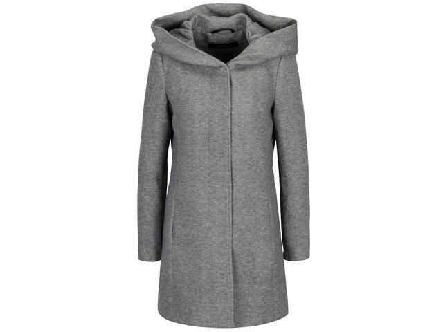 Šedý žíhaný kabát s kapucí VERO MODA Rodona