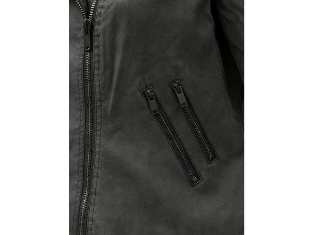 Tmavě šedá koženková bunda ONLY CARMAKOMA Avana