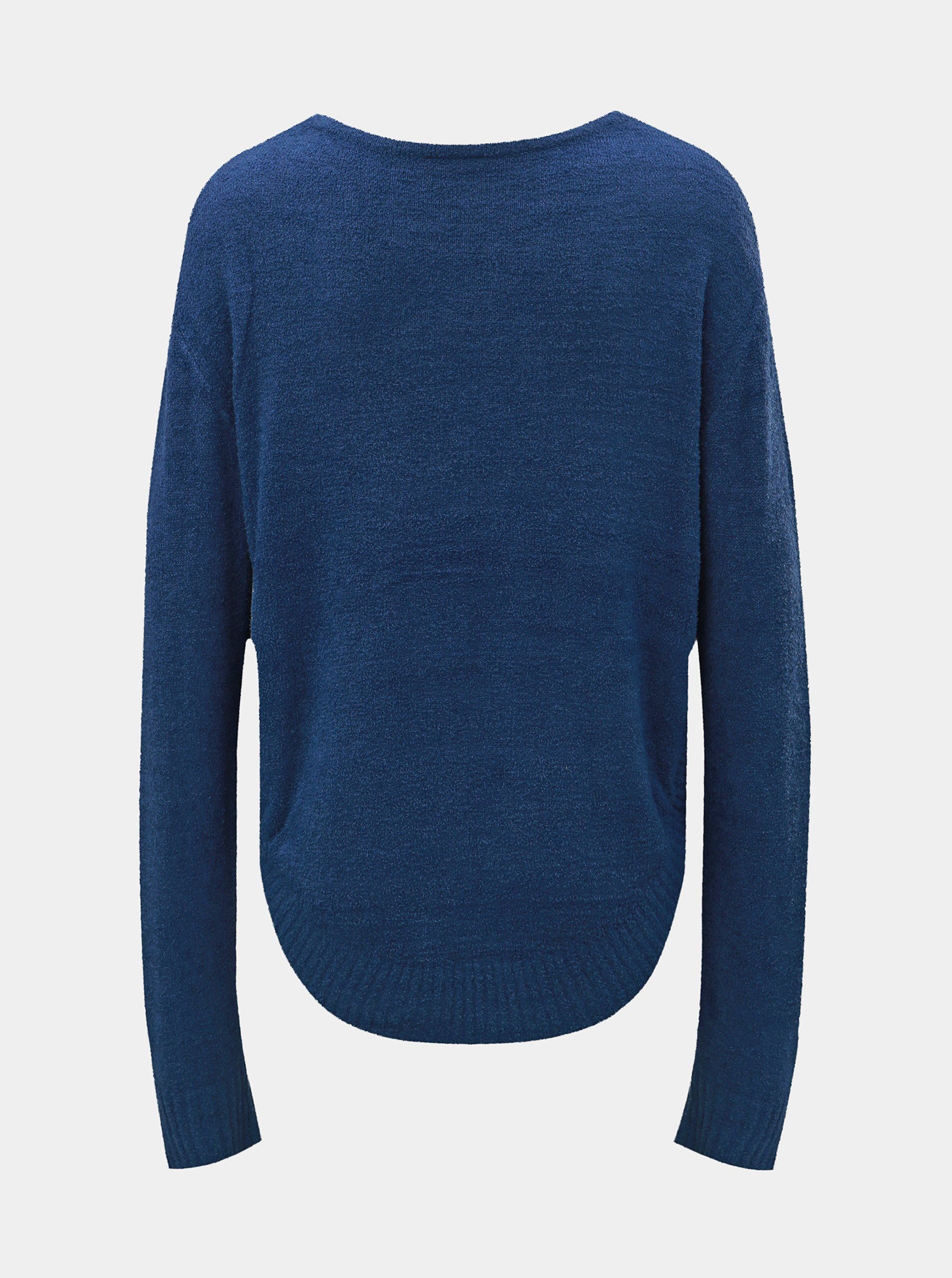 Modrý voľný sveter s okrúhlym výstrihom touch me.