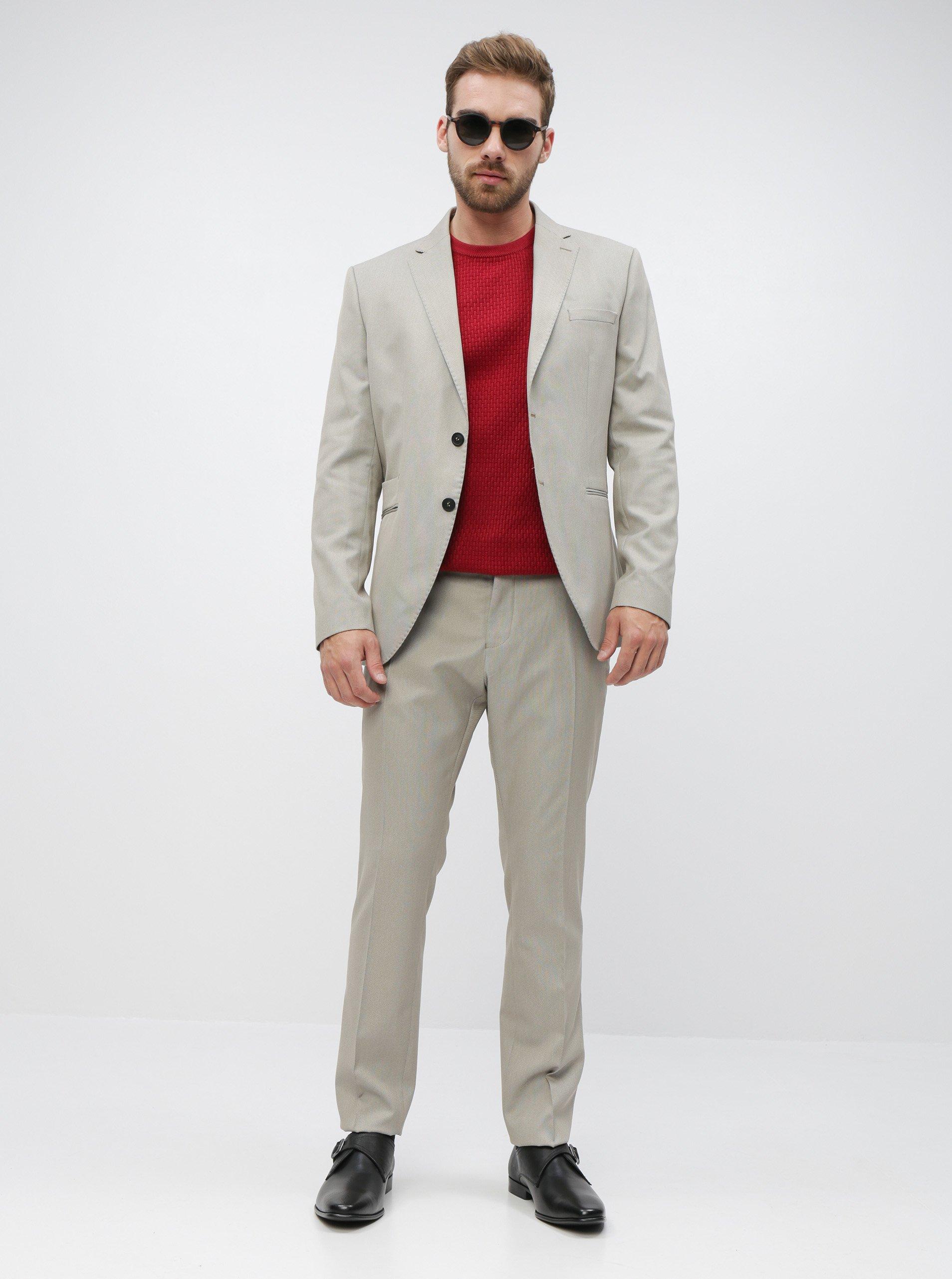 Béžové oblekové slim fit nohavice Selected Homme Maze Saint.