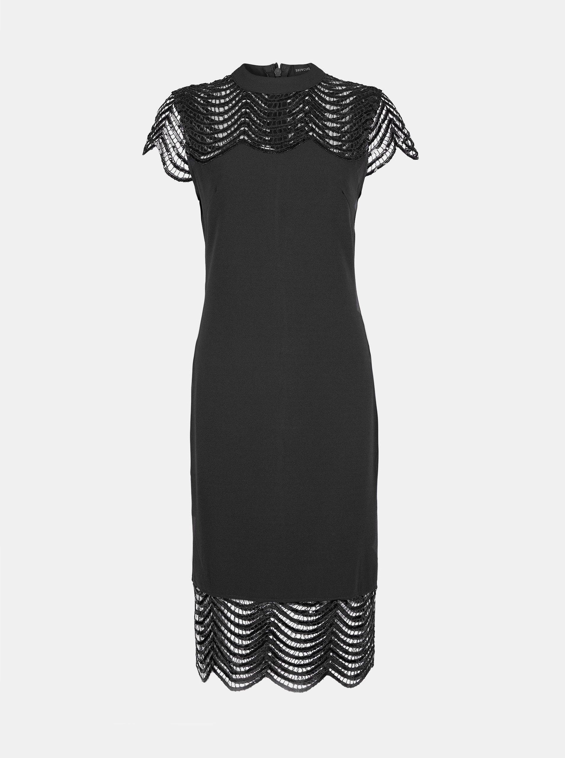 Čierne púzdrové šaty s krajkou Dorothy Perkins.