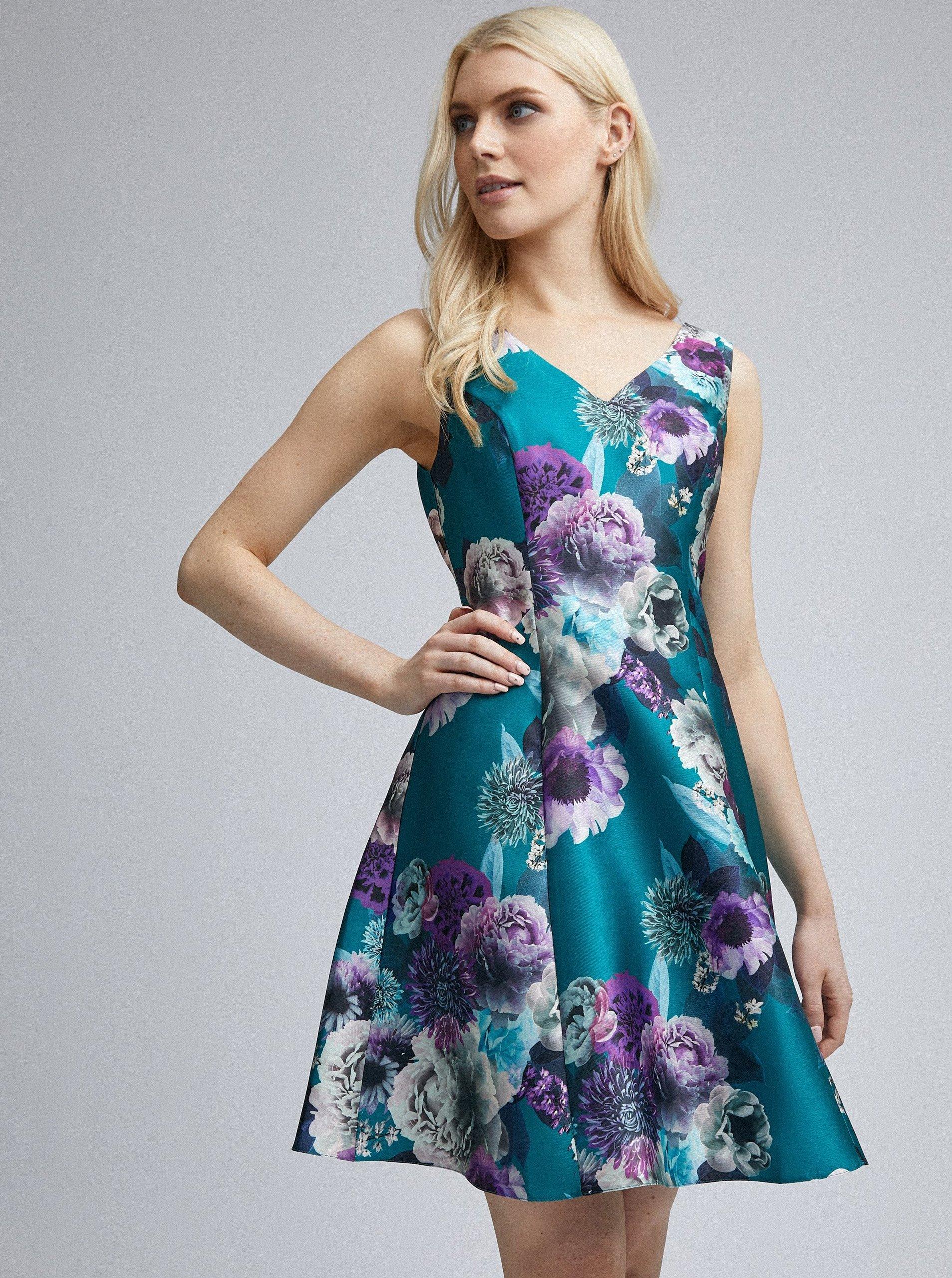 Petrolejové kvetované šaty Dorothy Perkins.