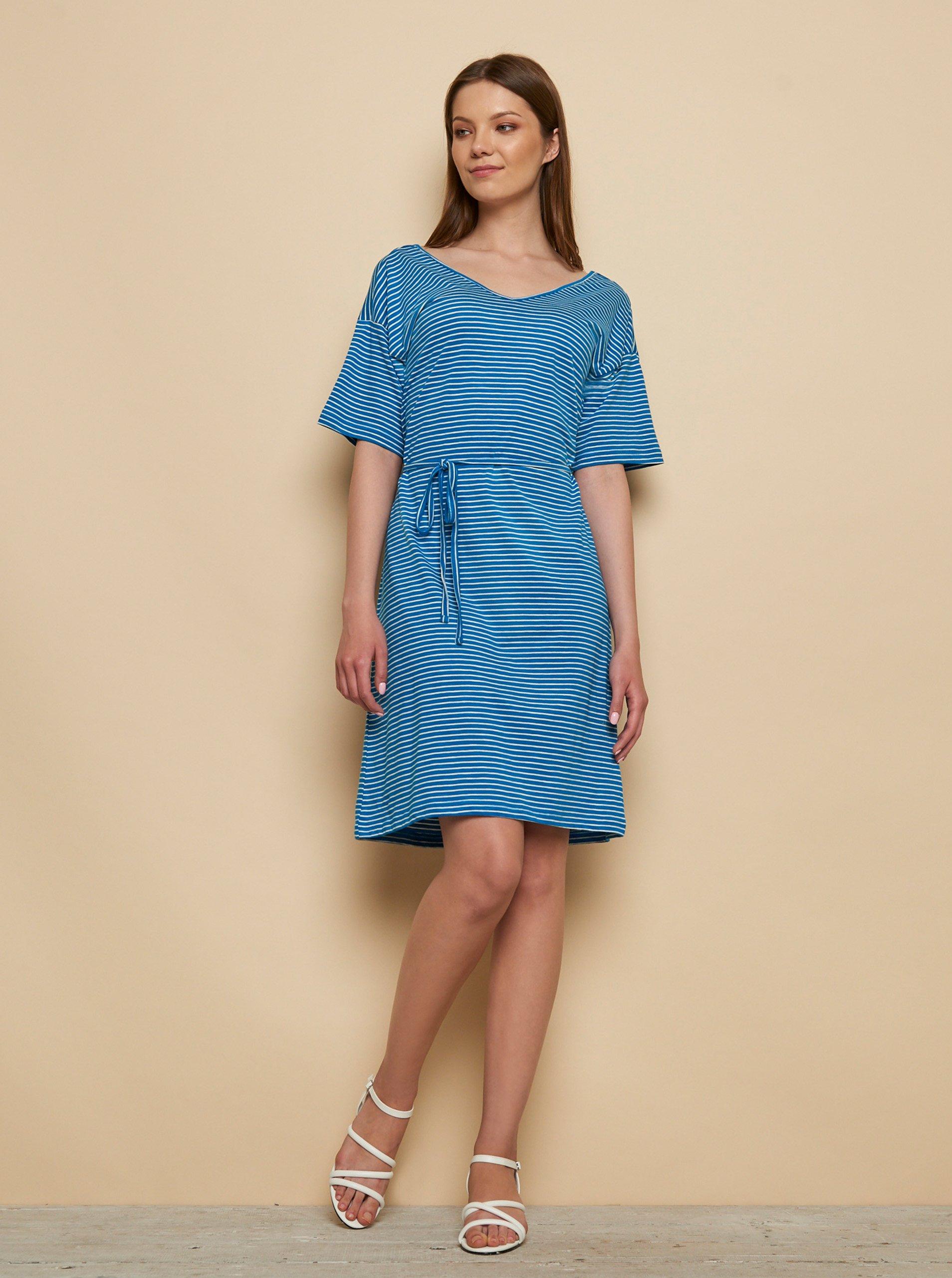 Modré pruhované šaty Tranquillo.