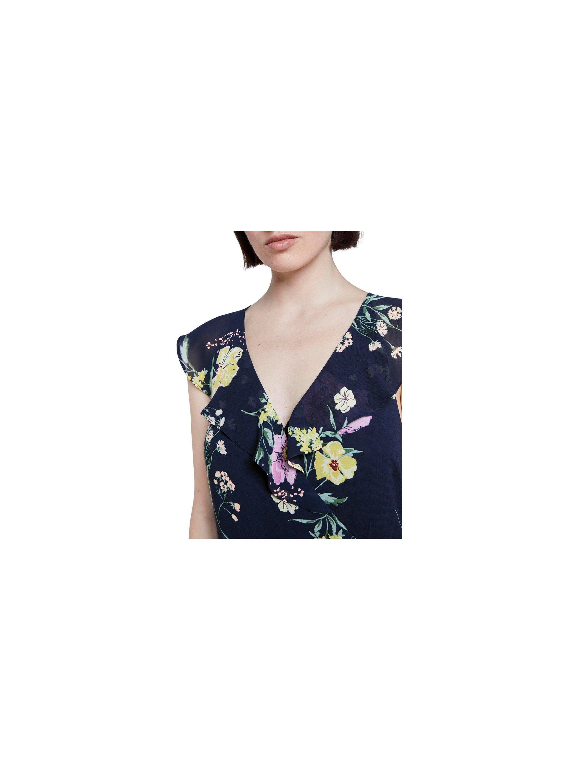 Tmavomodré dámske kvetované maxišaty Tom Tailor Denim.