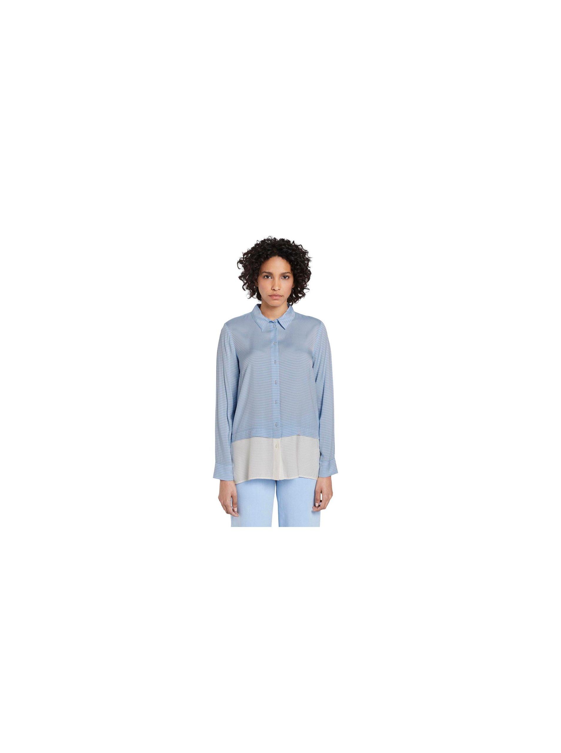 Modrá dámska pruhovaná voľná košeľa Tom Tailor.