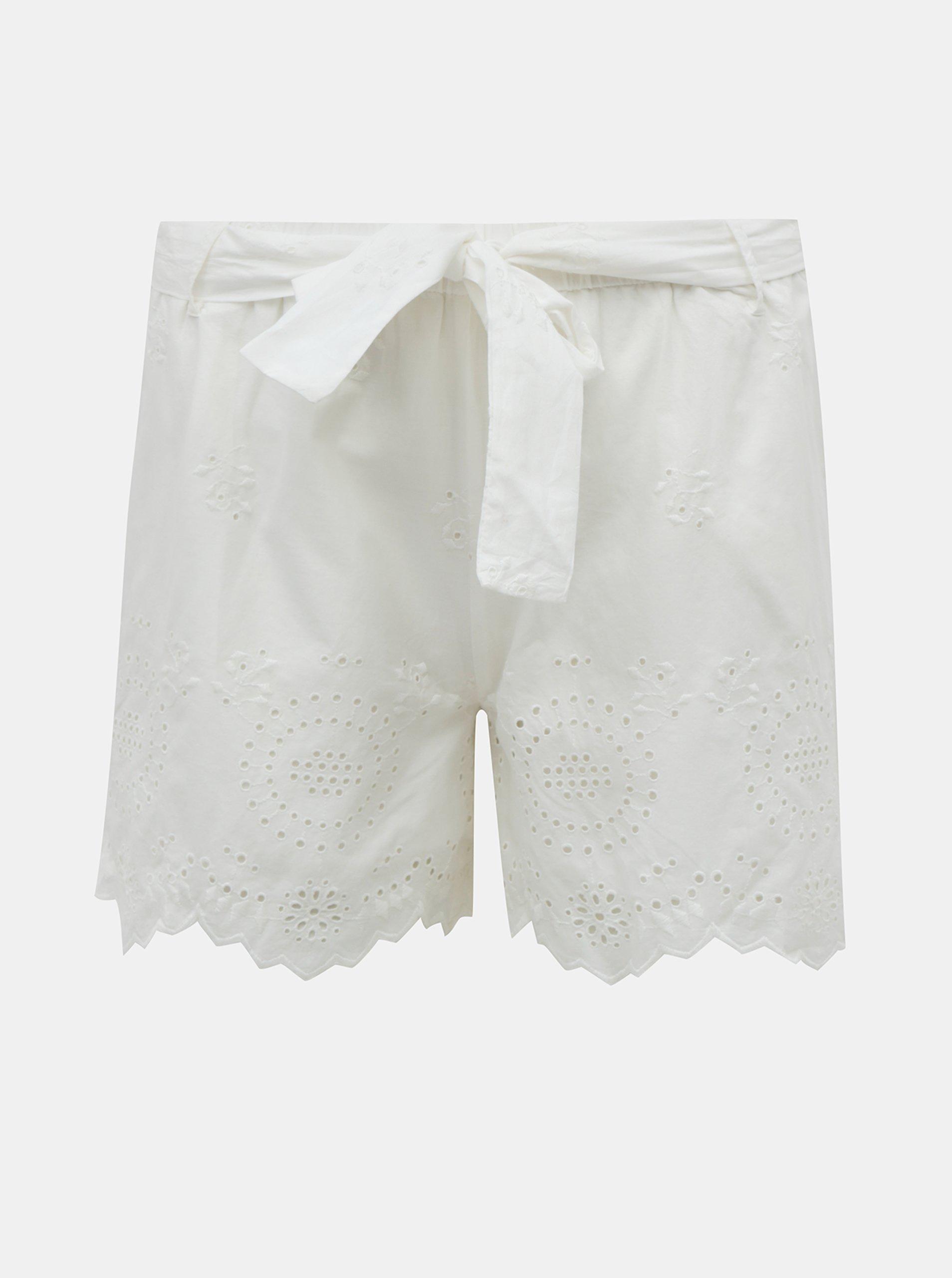 E-shop Bílé kraťasy s madeirou ONLY Sherey