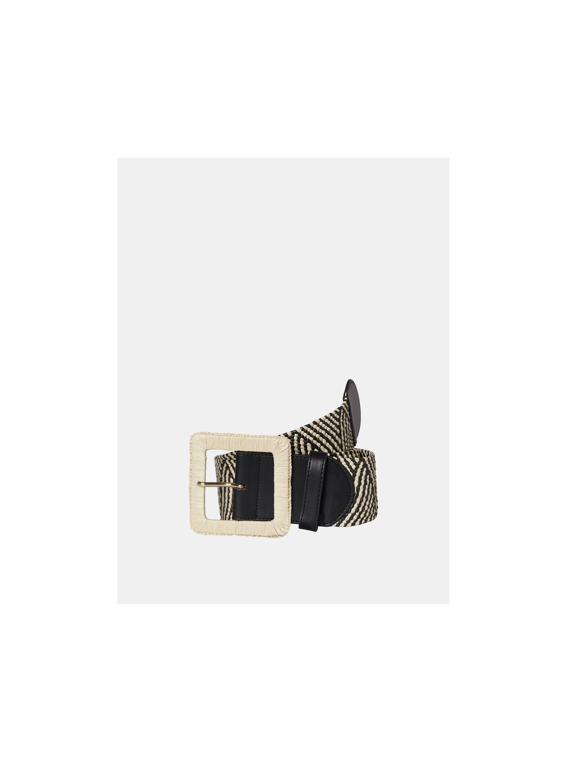 E-shop Krémové-černý vzorovaný pásek Pieces Corina