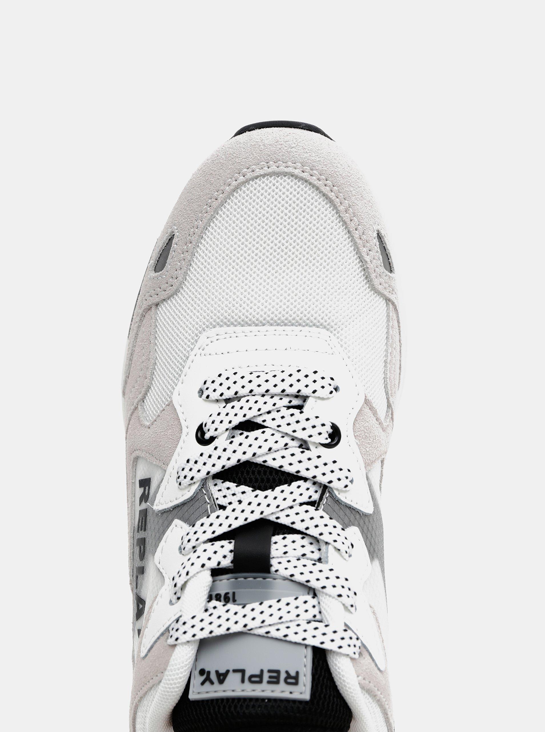 Šedo-biele pánske tenisky s koženými detailmi Replay.