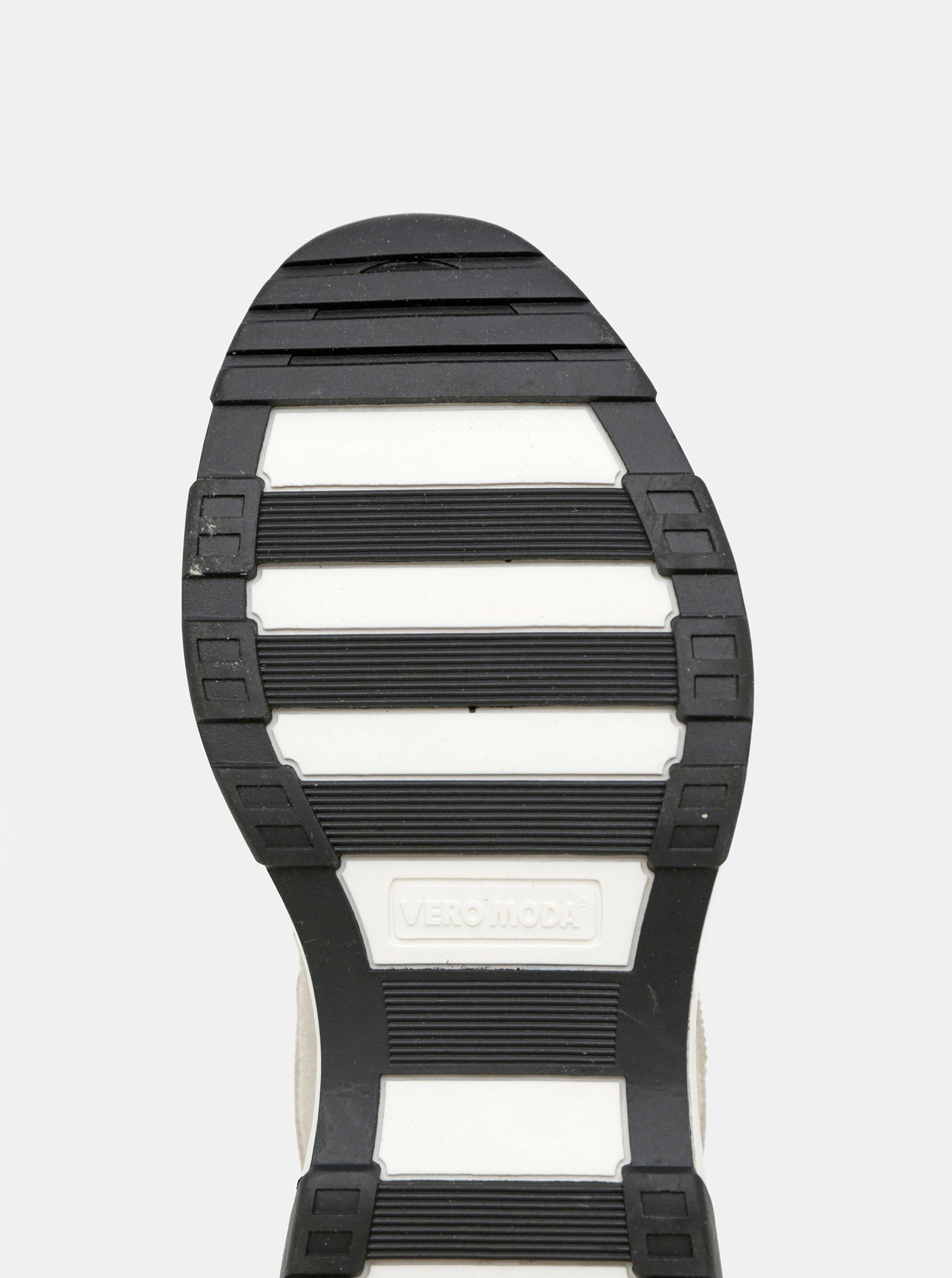 Béžové tenisky s detailmi v semišovej úprave VERO MODA.