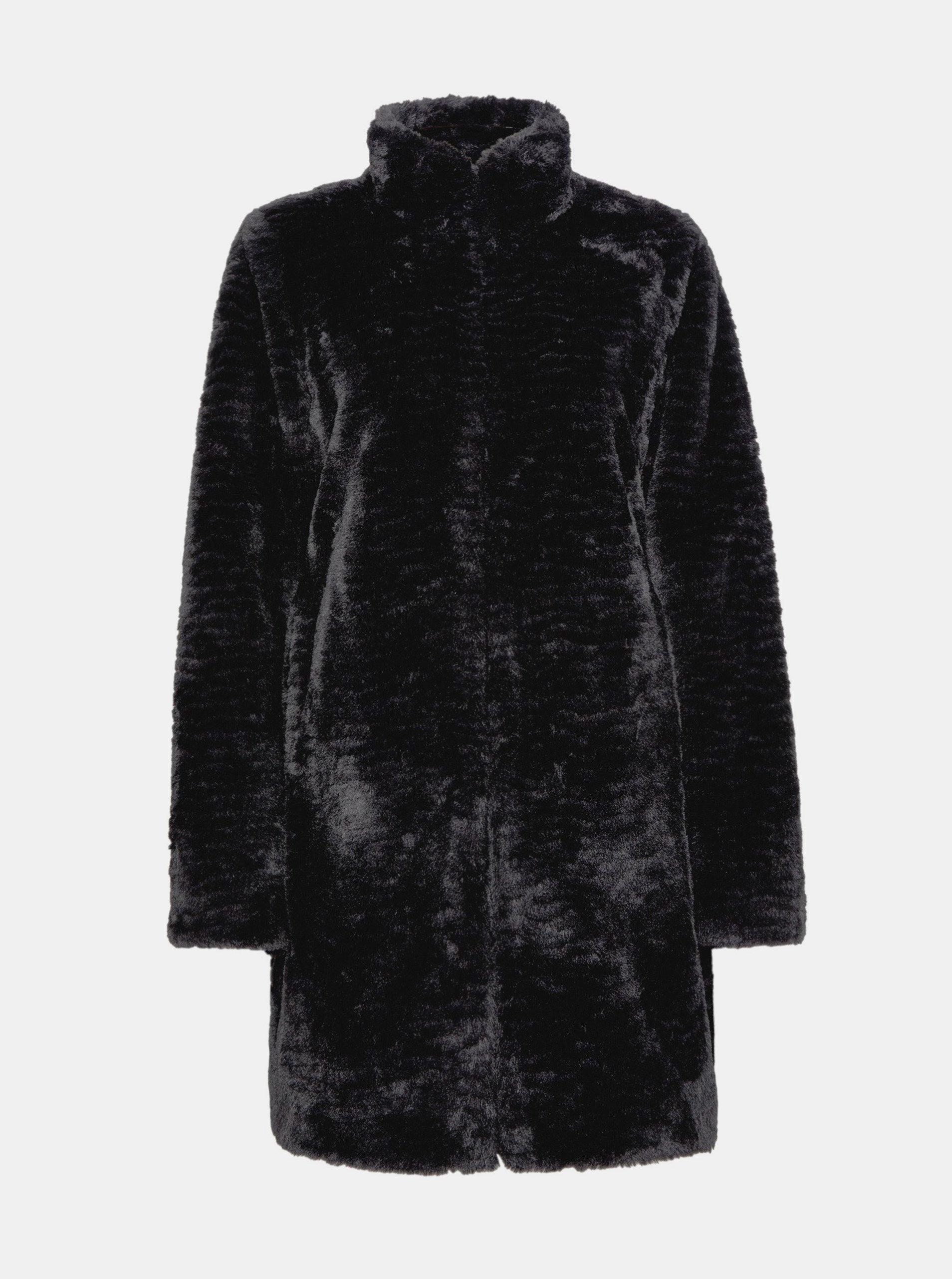 Čierny kabát z umelého kožúšku Dorothy Perkins.