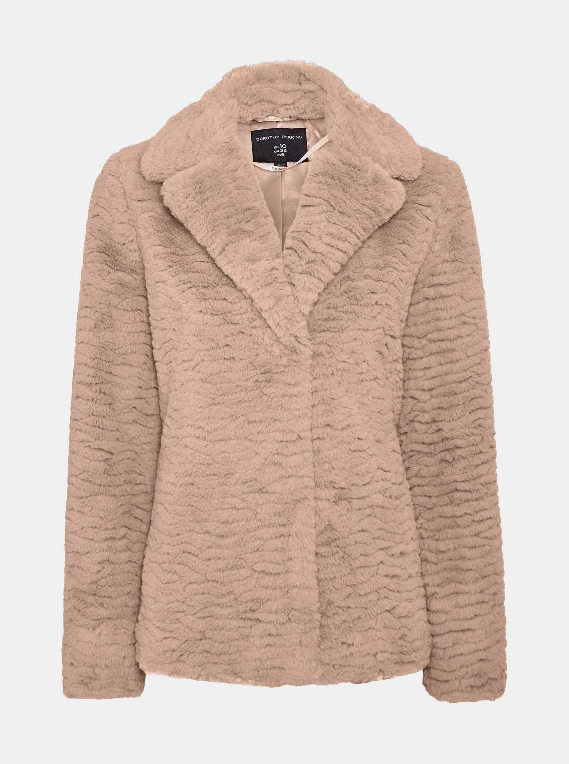 Svetlohnedý krátky kabát z umelého kožúšku Dorothy Perkins.