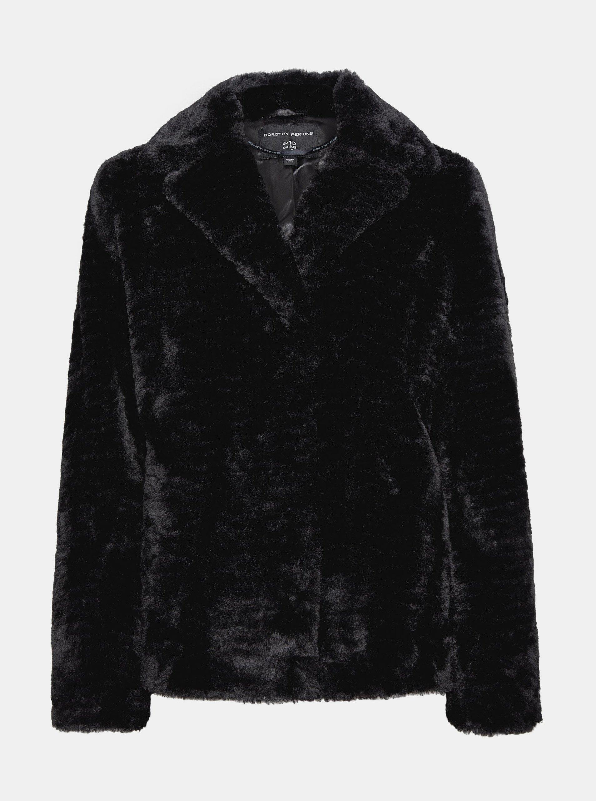 Čierny krátky kabát z umelého kožúšku Dorothy Perkins.
