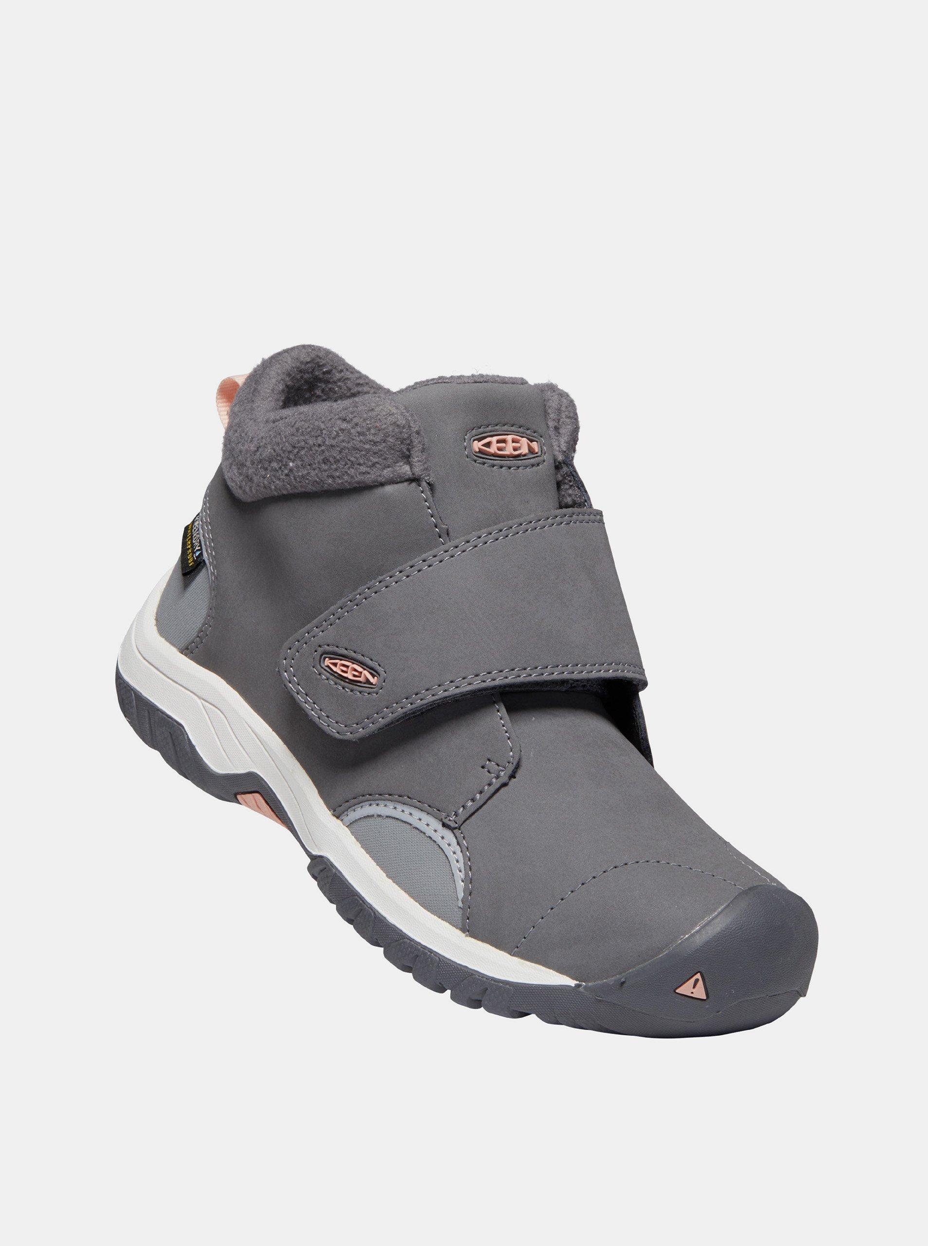 Šedé detské kožené zimné topánky Keen.