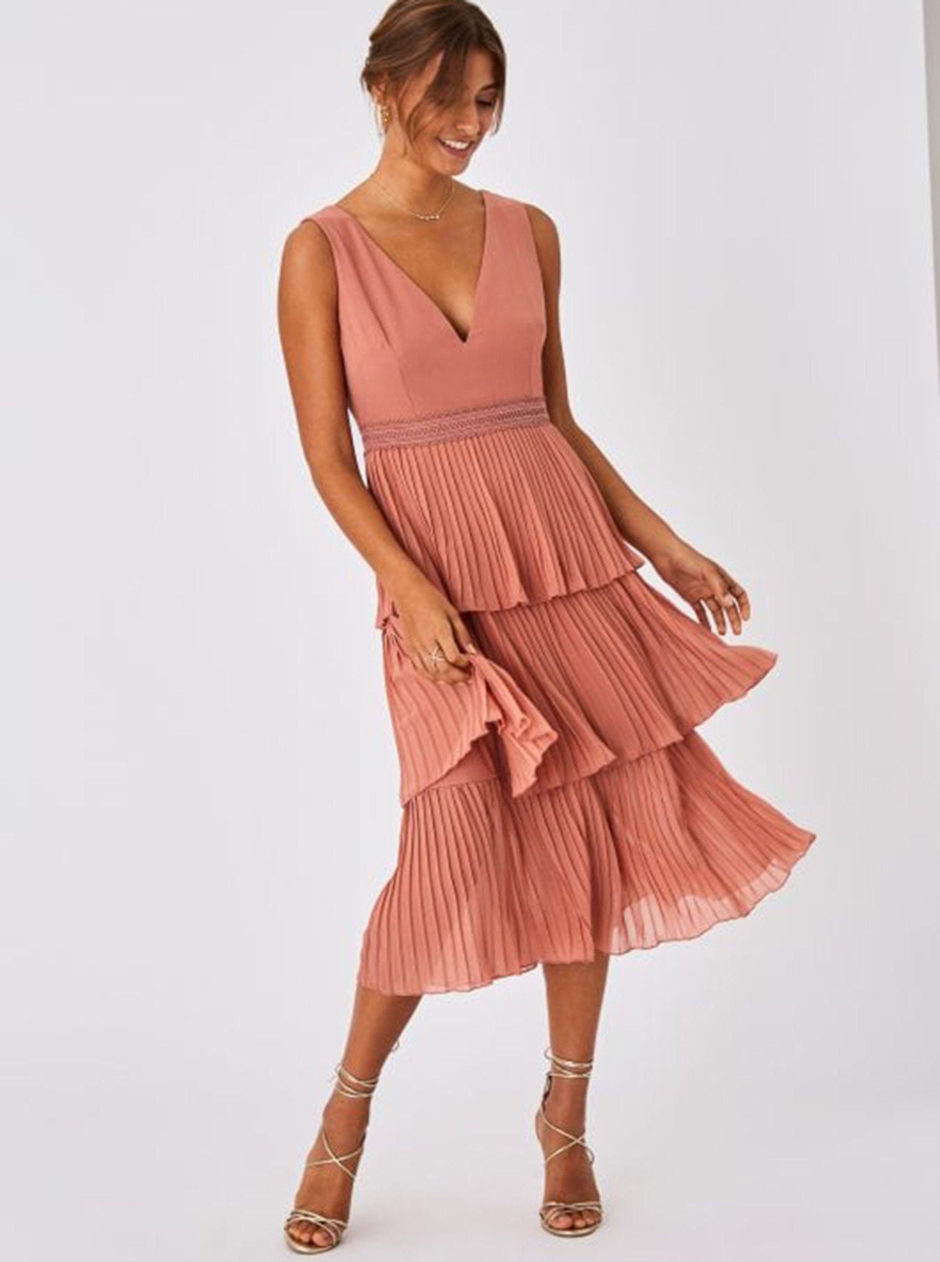 Ružové plisované šaty Little Mistress.