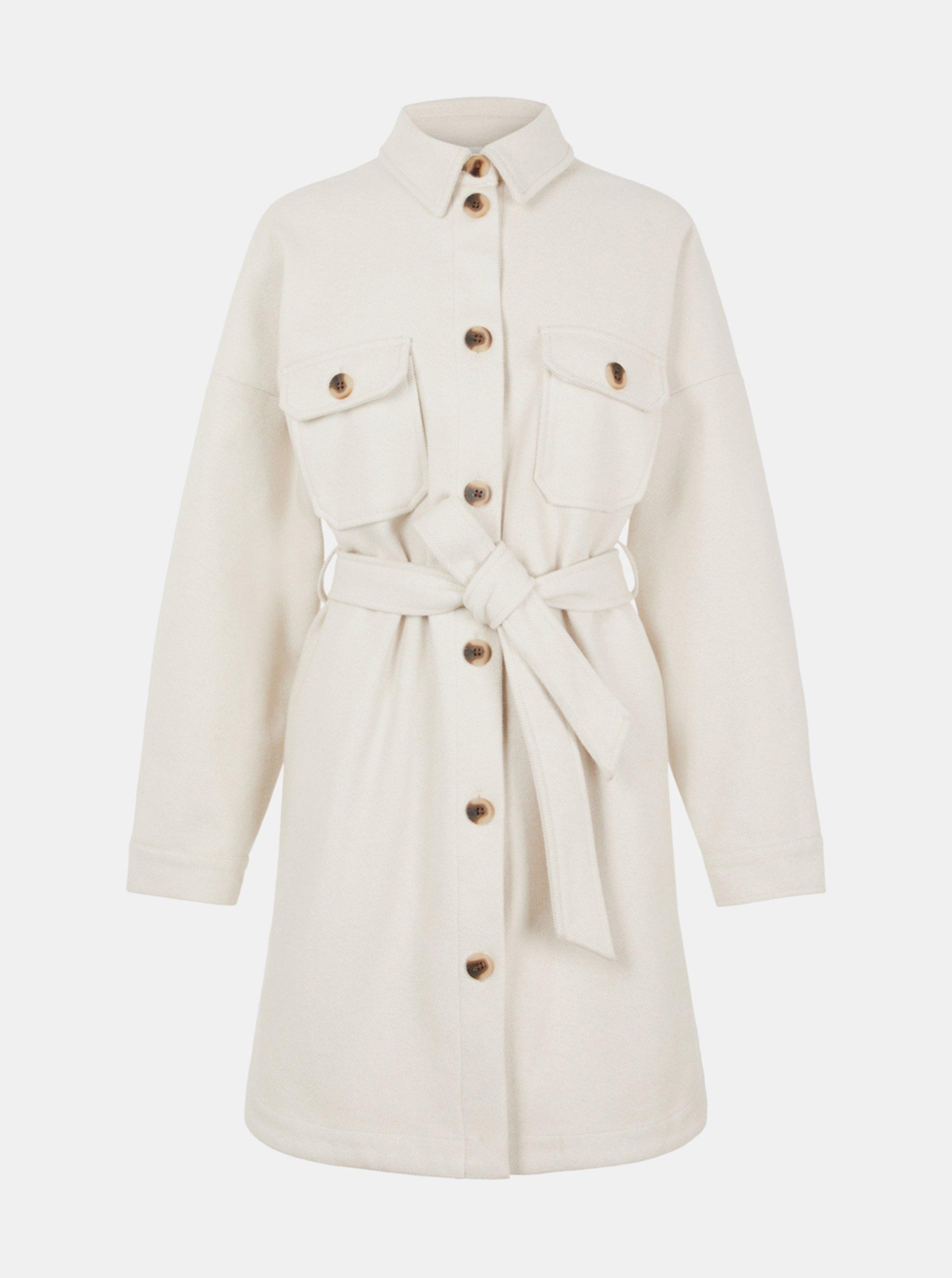 Krémový kabát Pieces Riema.