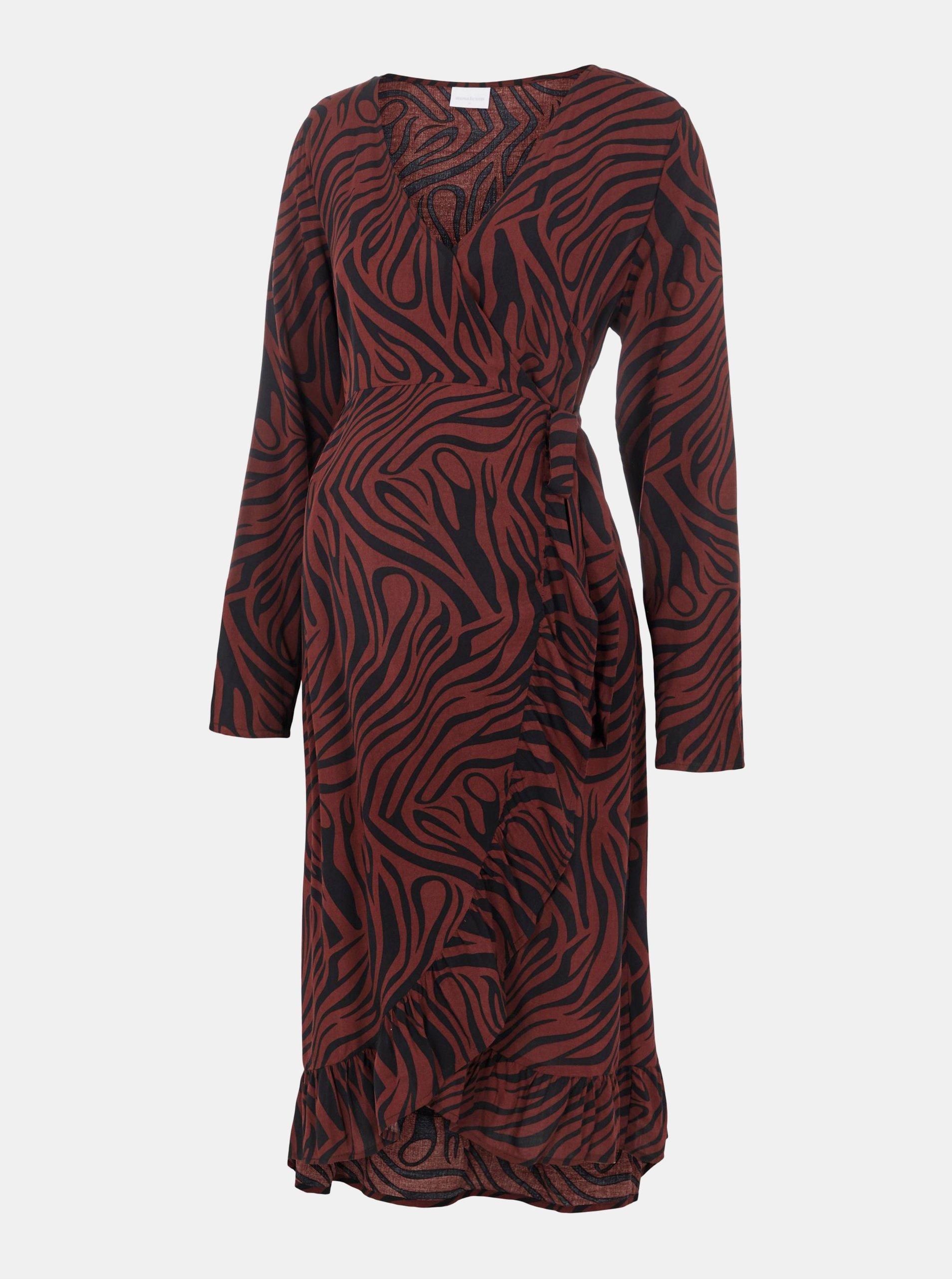 Hnedé zavinovacie vzorované tehotenské šaty Mama.licious.