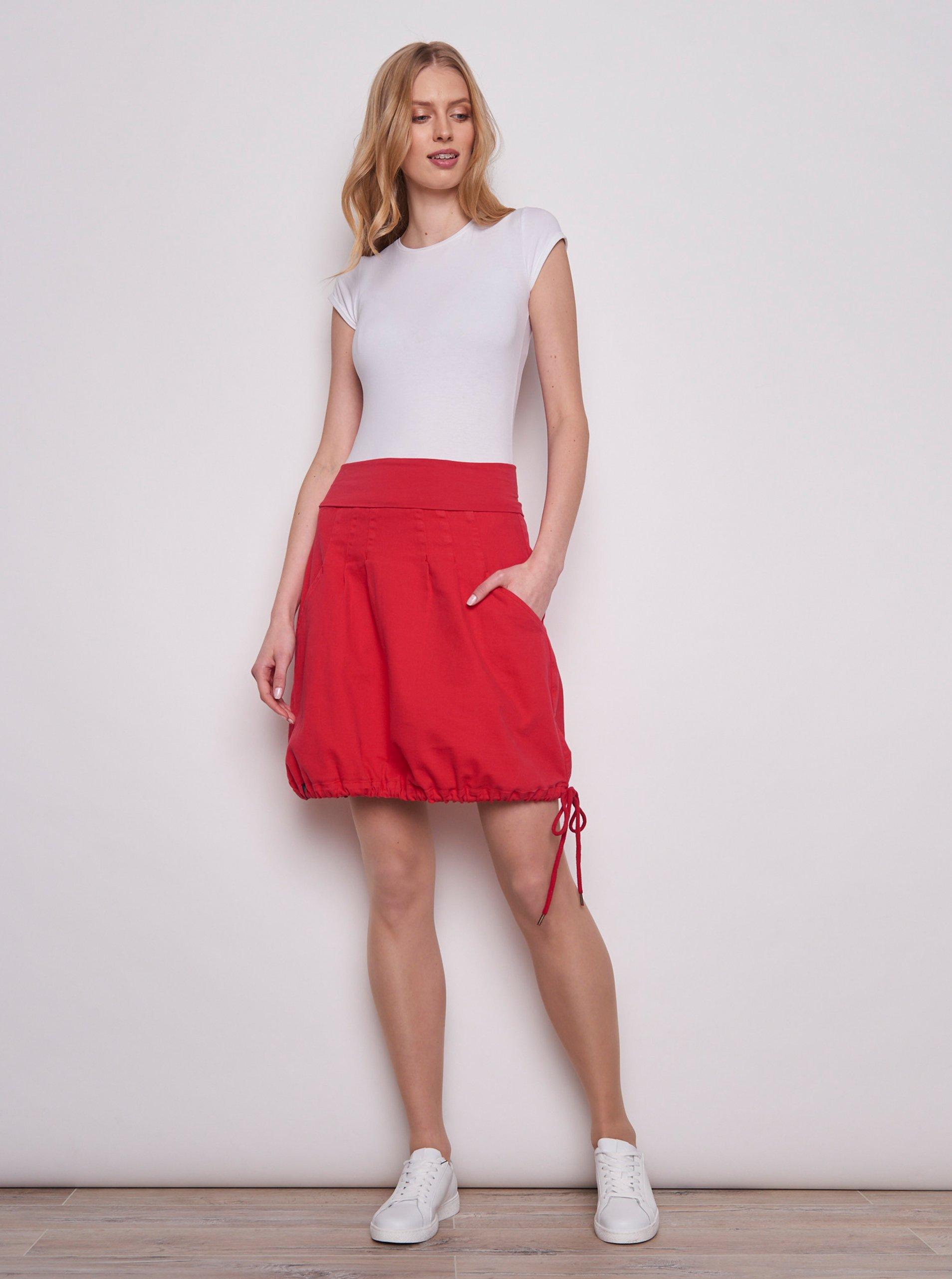 Červená balonová sukňa Tranquillo.