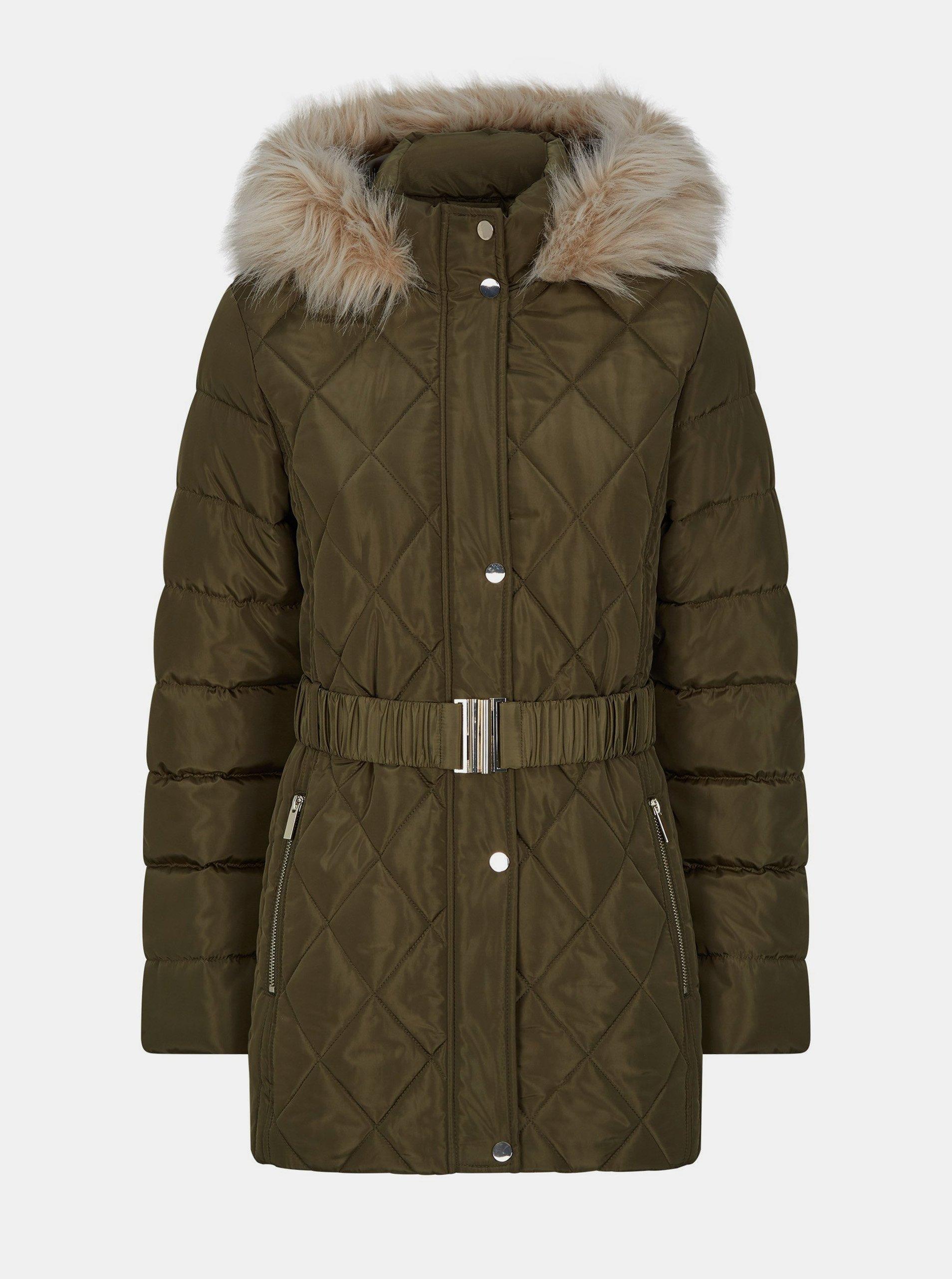 Kaki zimná prešívaná bunda Dorothy Perkins.