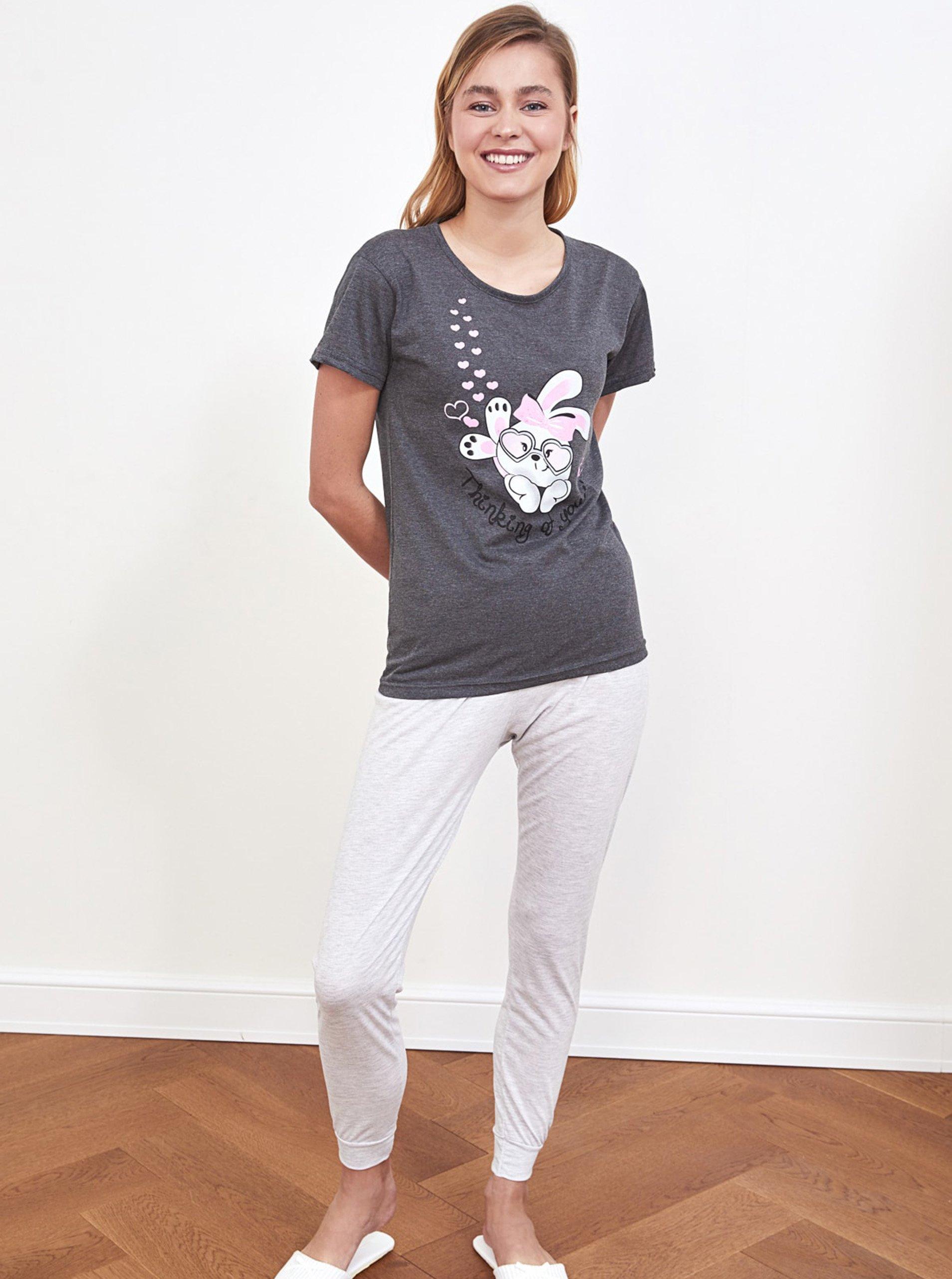E-shop Šedé dámské pyžamo s potiskem Trendyol