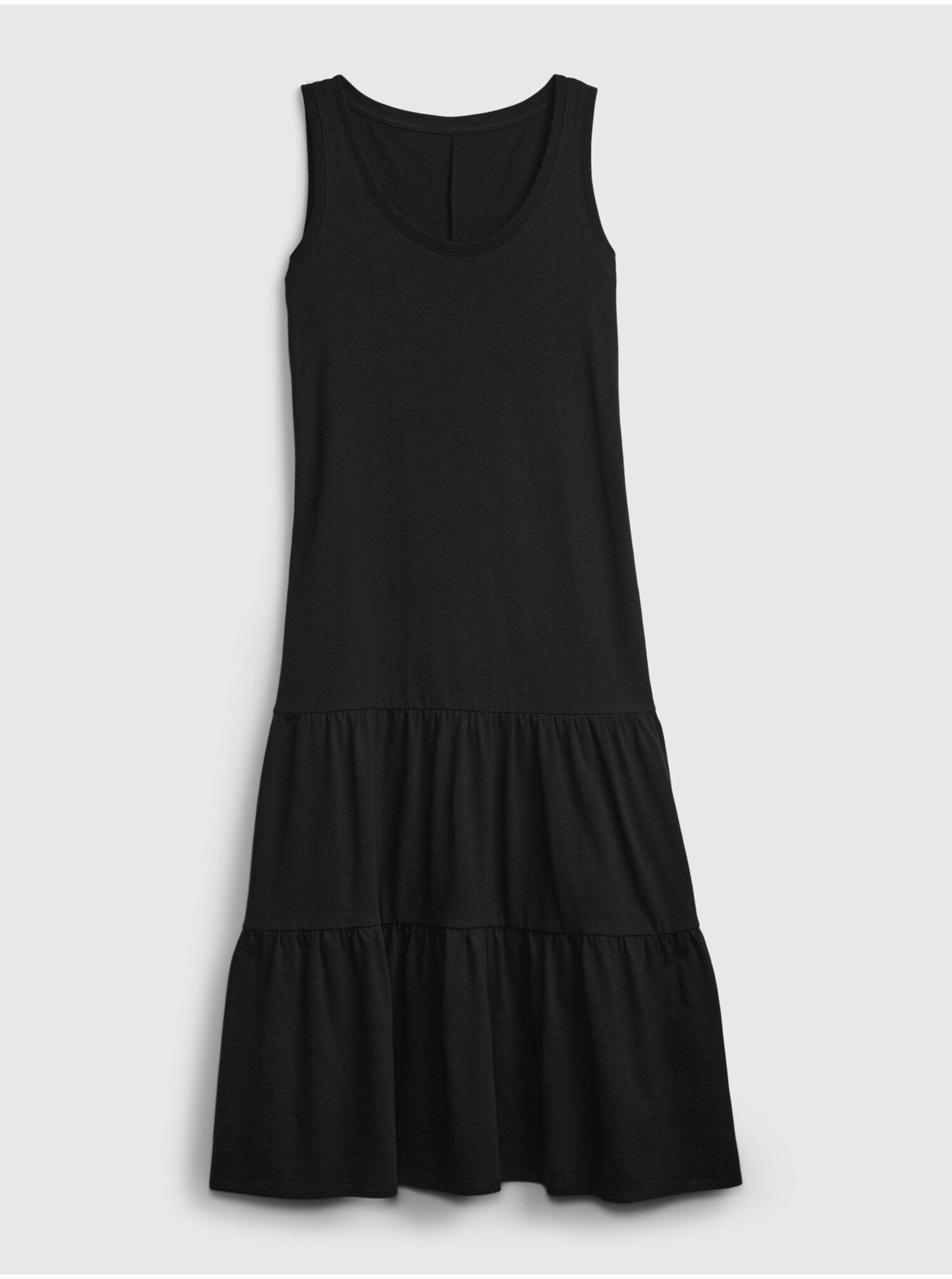 E-shop Černé dámské šaty sl tiered maxi