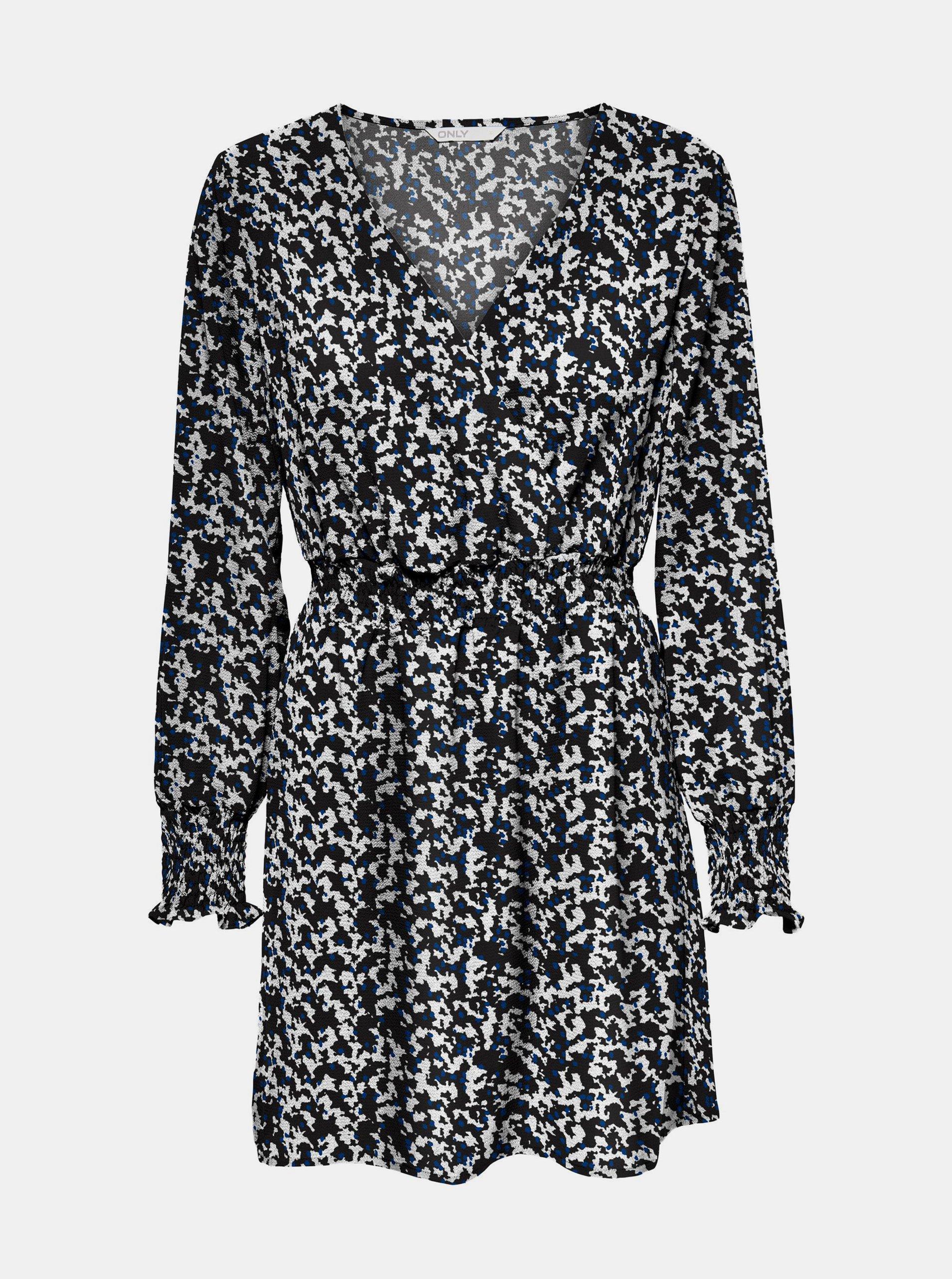 E-shop Modro-černé vzorované šaty ONLY-Nova