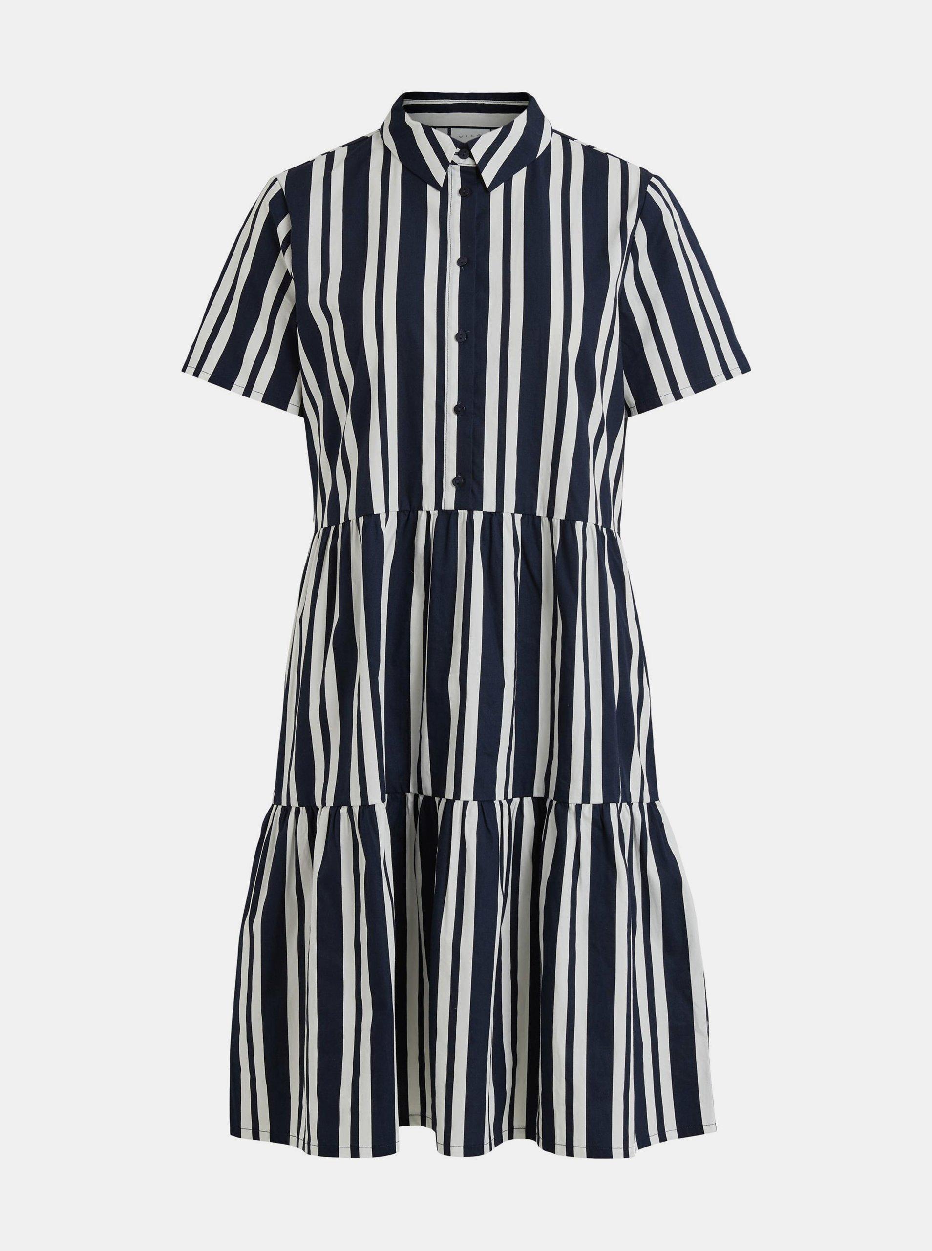 Tmavomodré pruhované košeľové šaty VILA Mosophy.