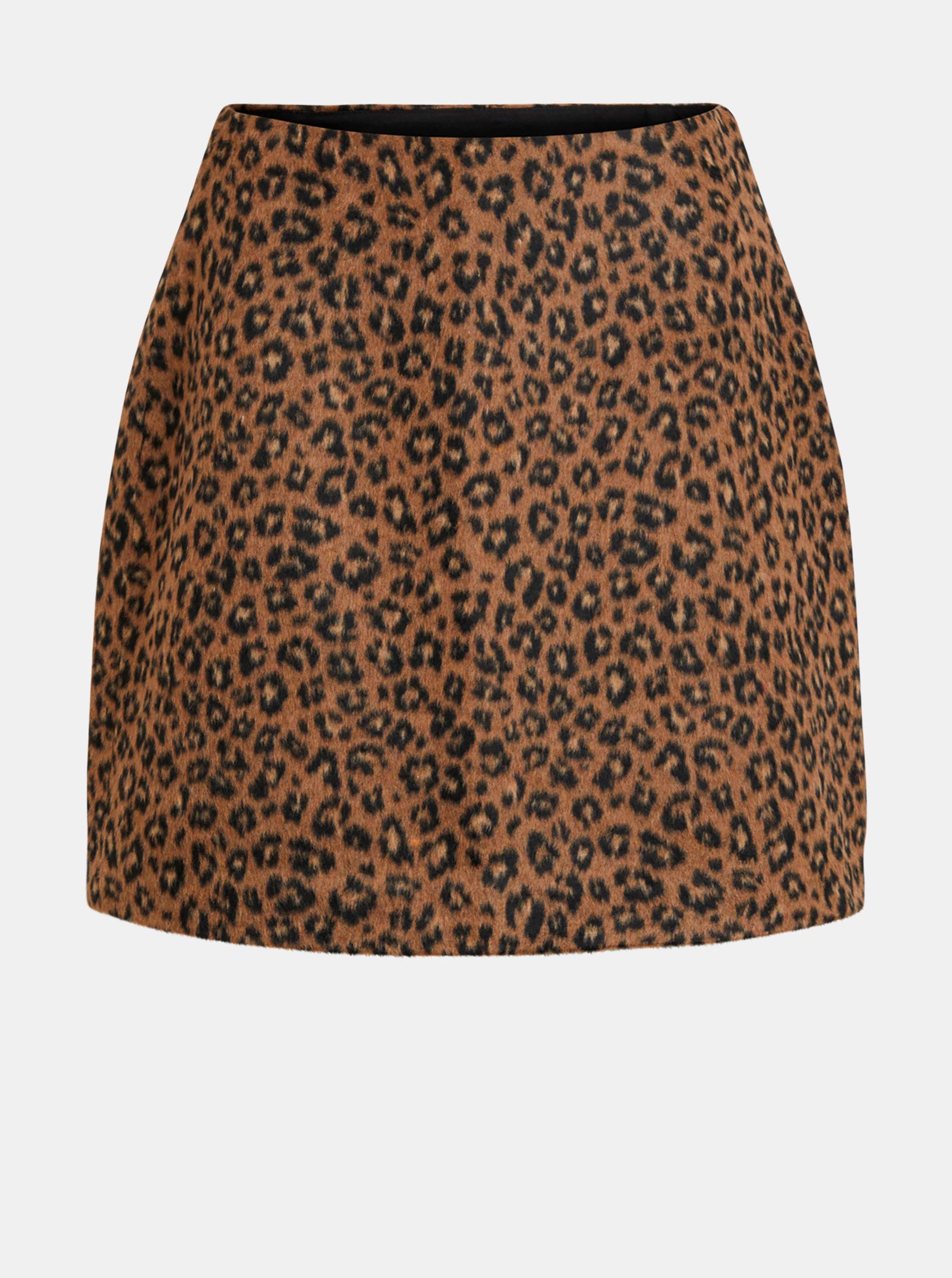 Hnedá sukňa s leopardím vzorom VILA Junila.