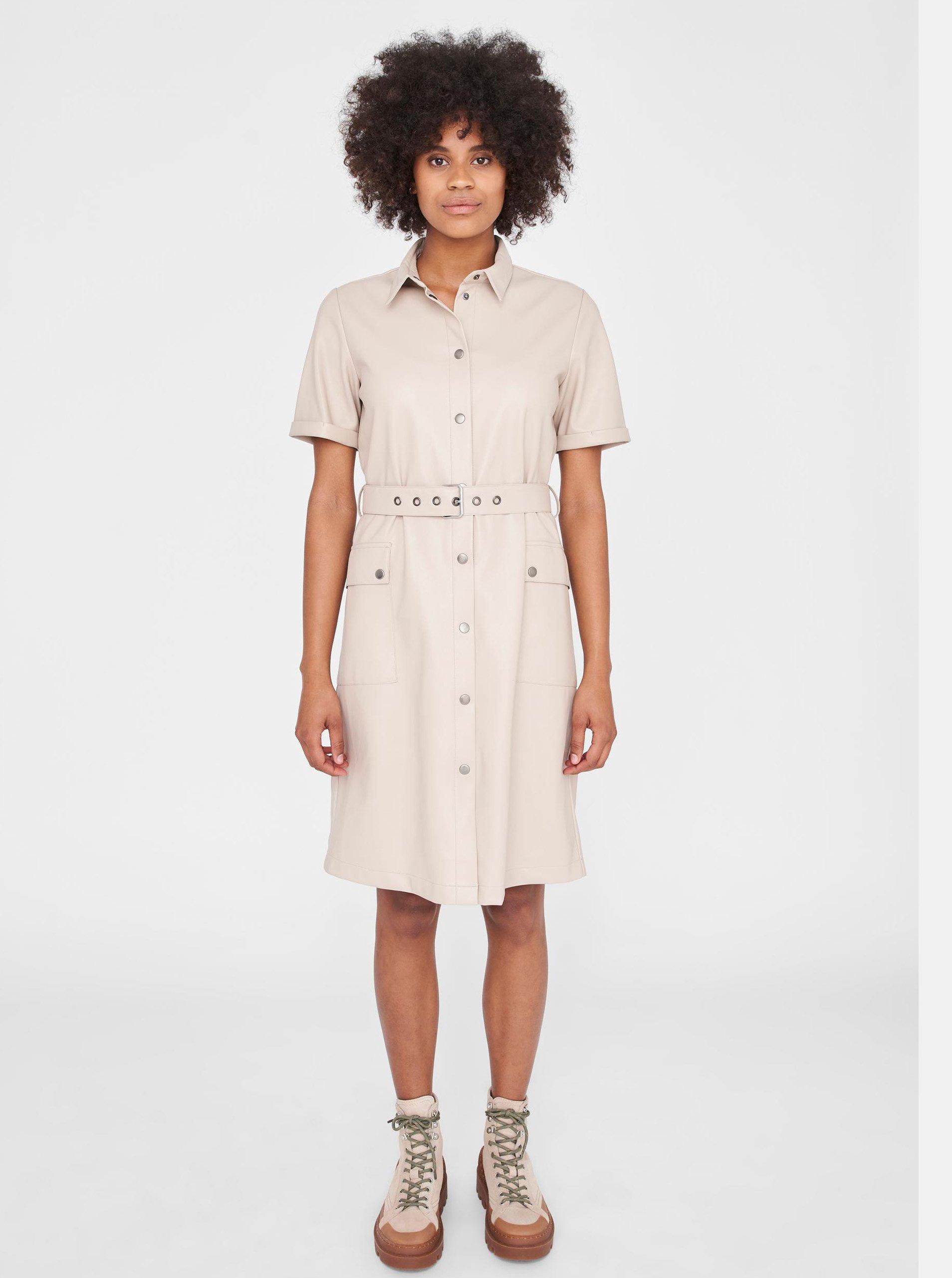 Béžové koženkové košeľové šaty Noisy May.