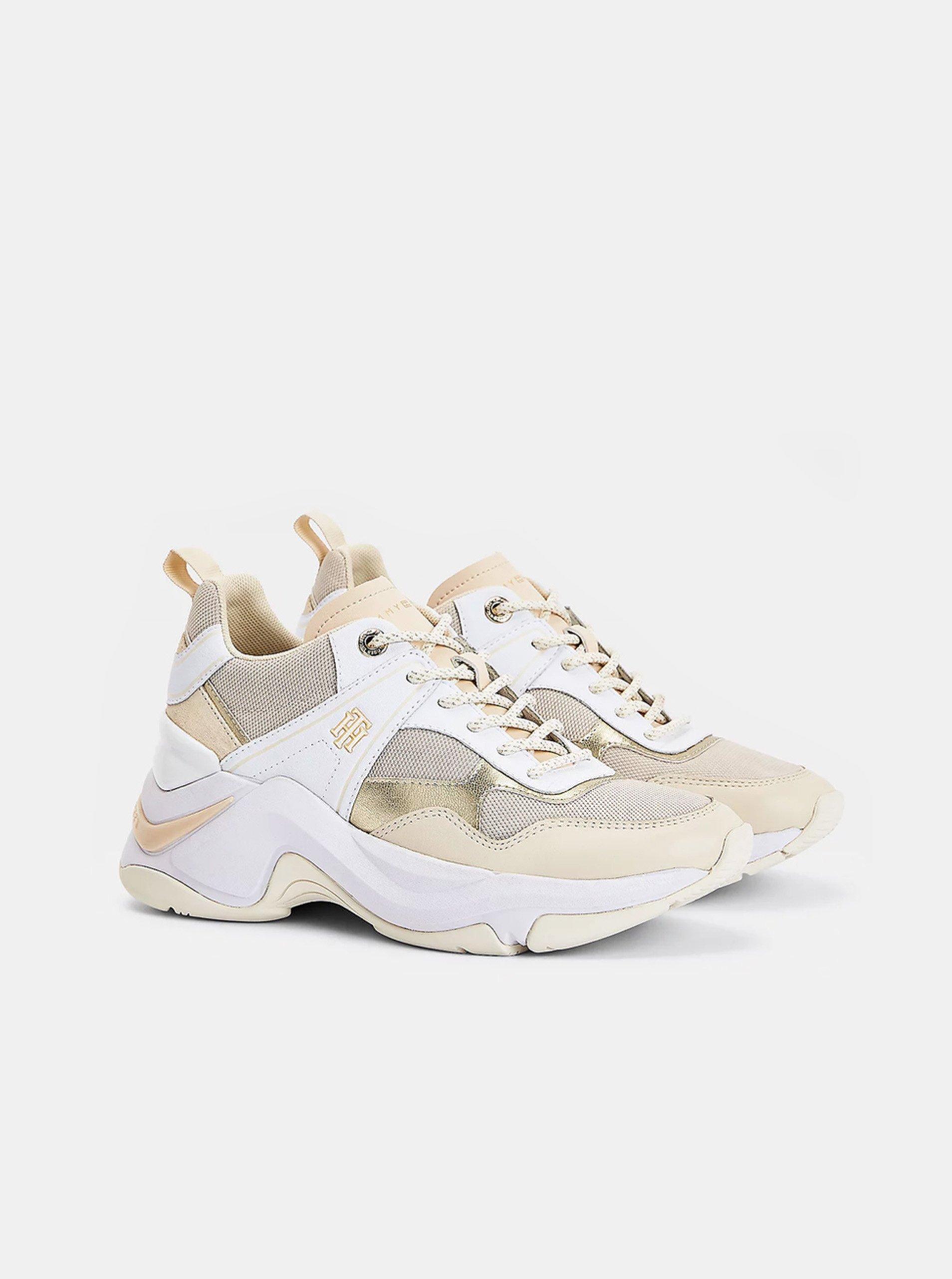Béžovo-biele dámske kožené tenisky na platforme Tommy Hilfiger.