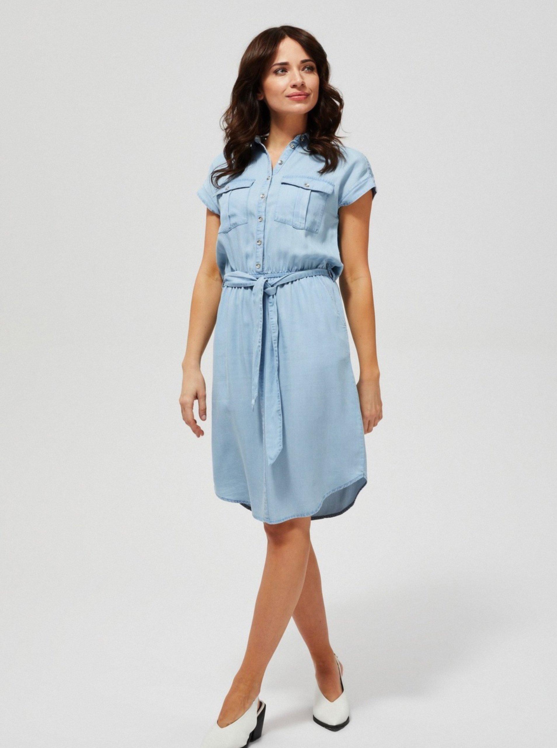 Světle modré dámské košilové šaty se zavazováním Moodo