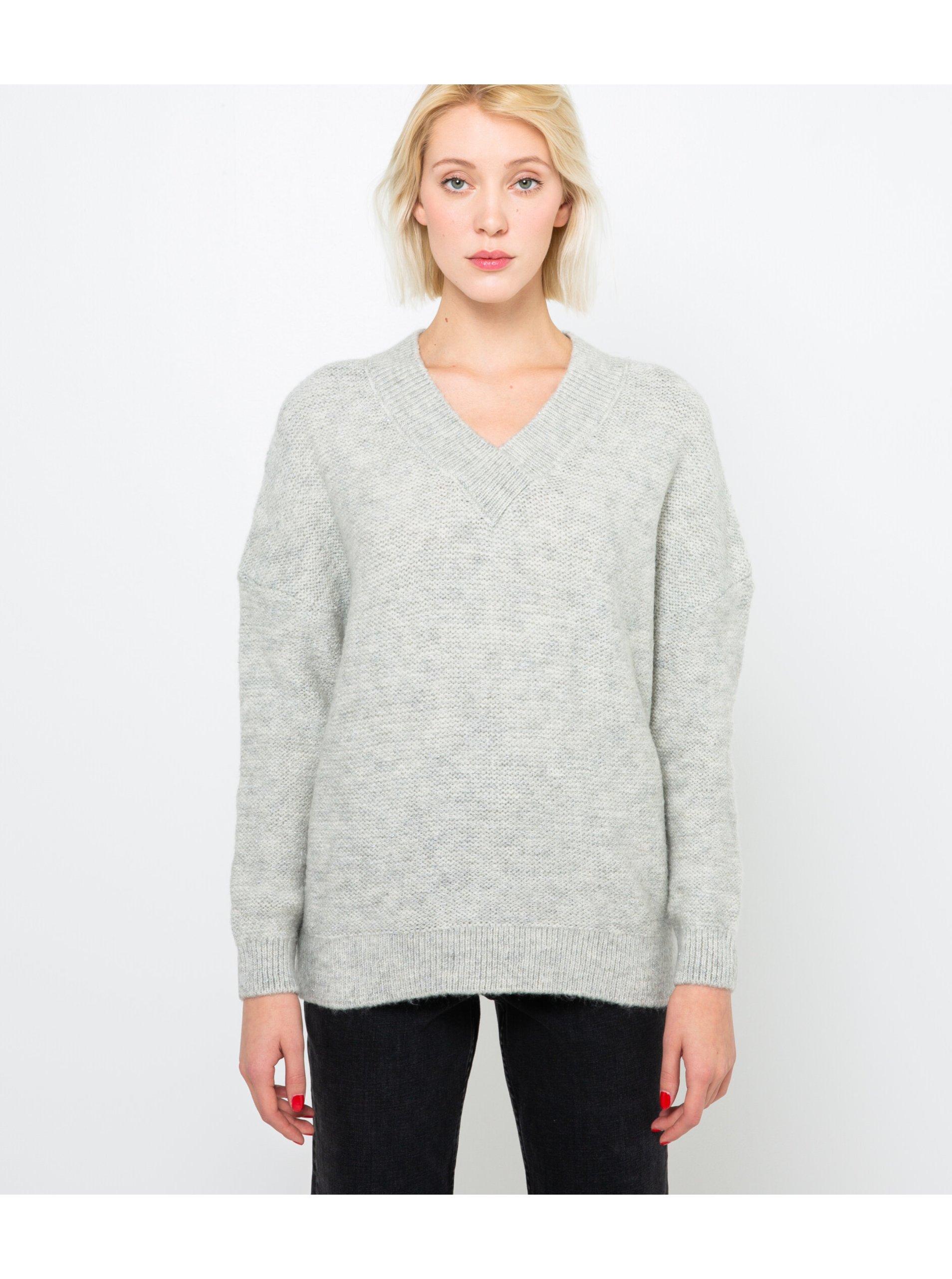 E-shop Světle šedý svetr s véčkovým výstřihem CAMAIEU