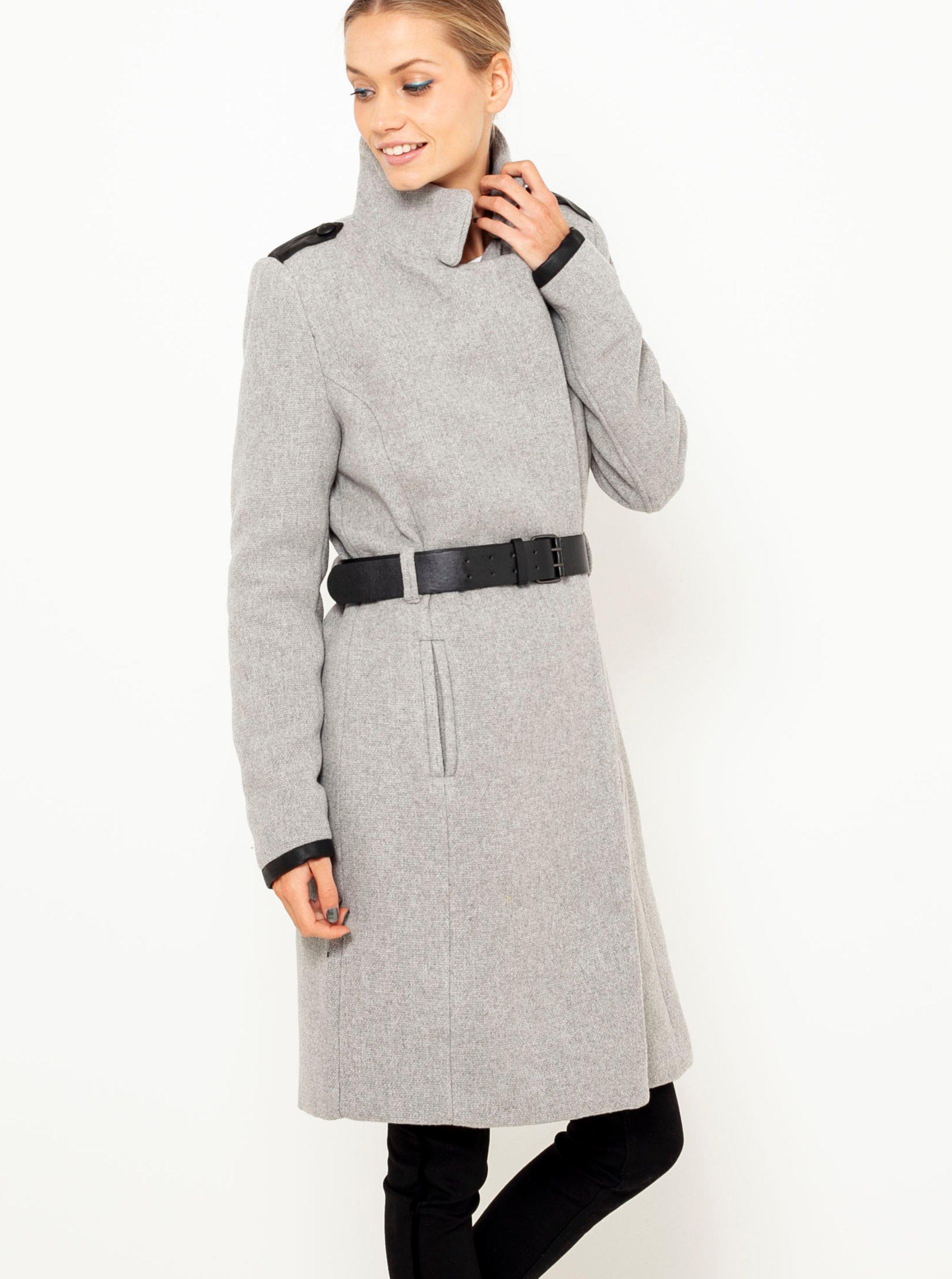 E-shop Světle šedý kabát s přísměsí vlny CAMAIEU