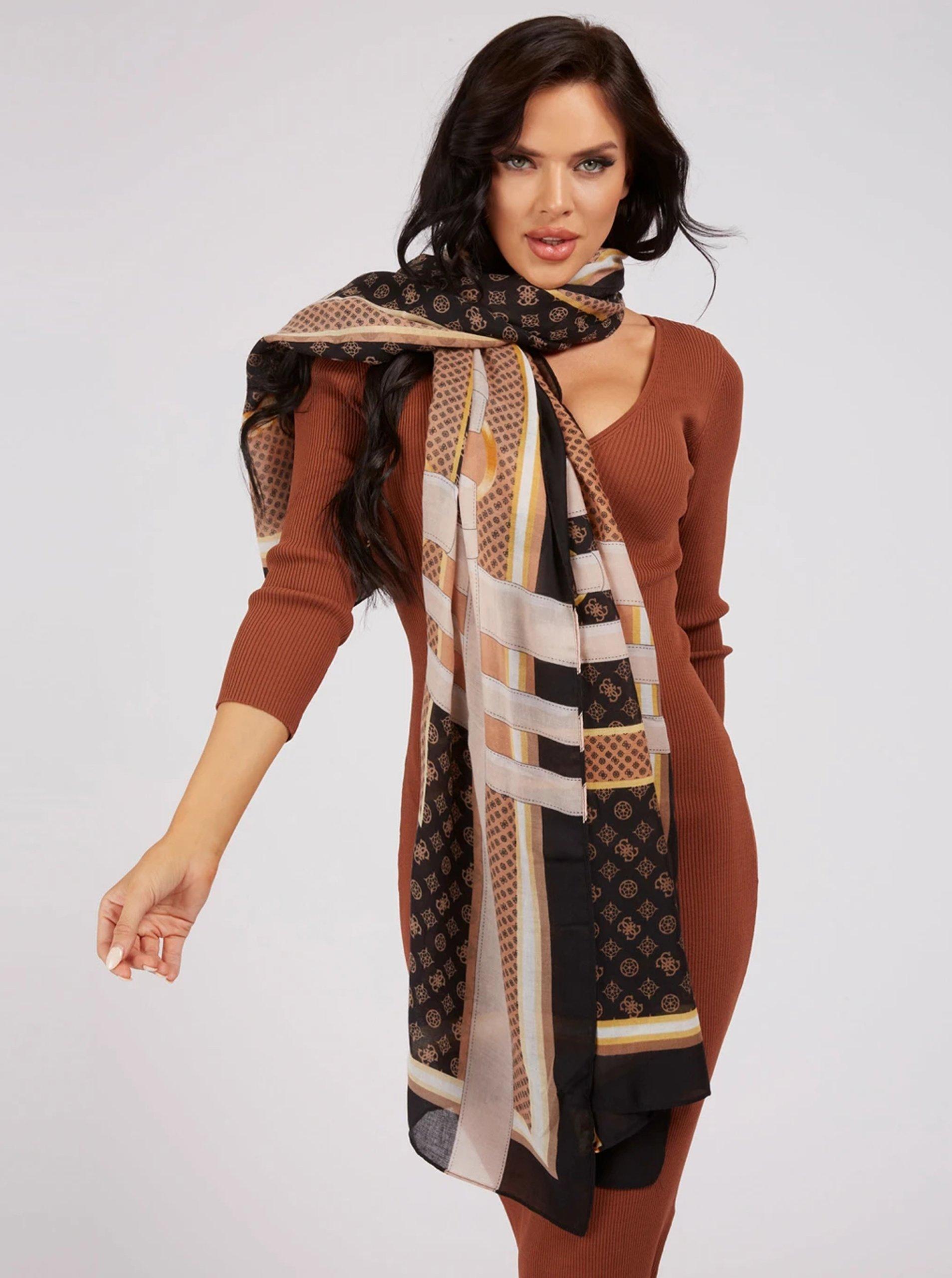 Hnědý dámský vzorovaný šátek Guess