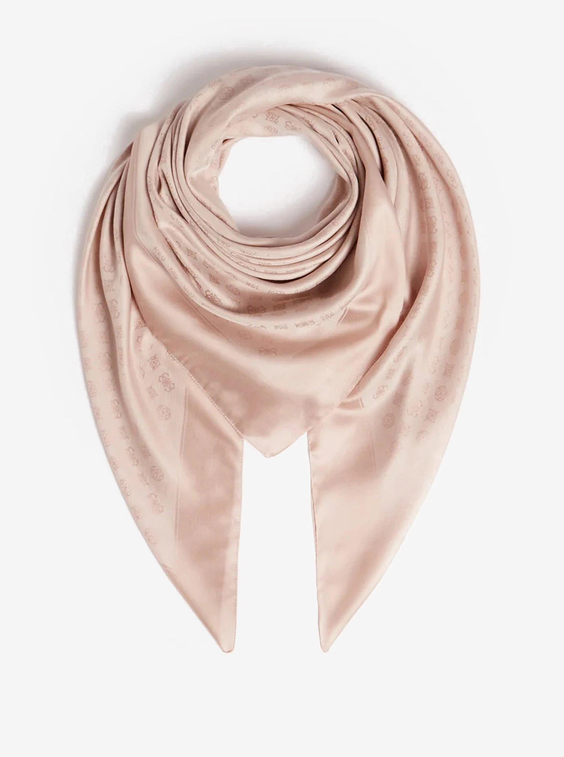 Světle růžový dámský šátek Guess