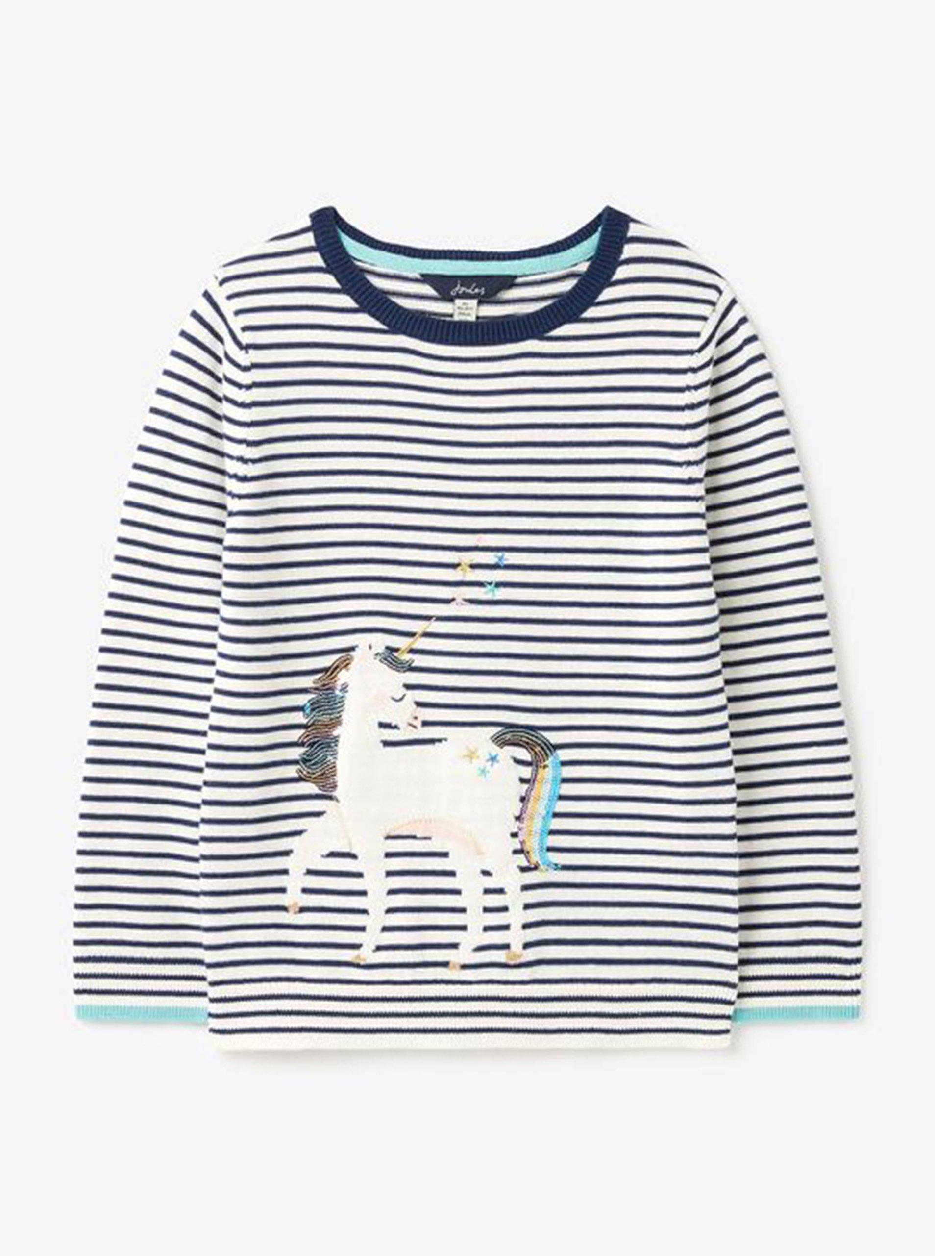 Modro-bílý holčičí pruhovaný svetr s jednorožcem Tom Joule