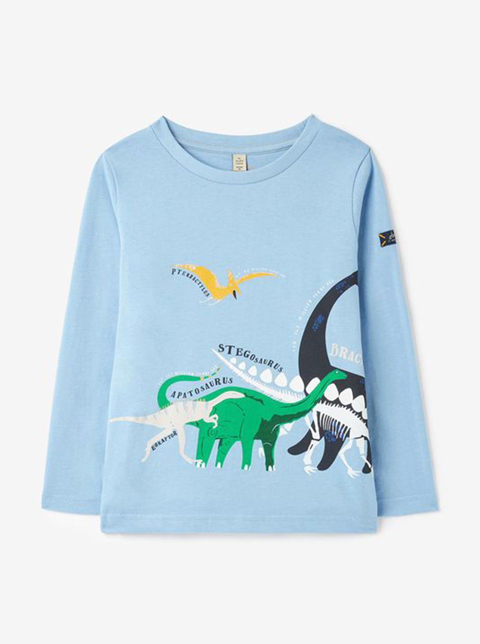 Světle modré klučičí tričko s dinosaury Tom Joule
