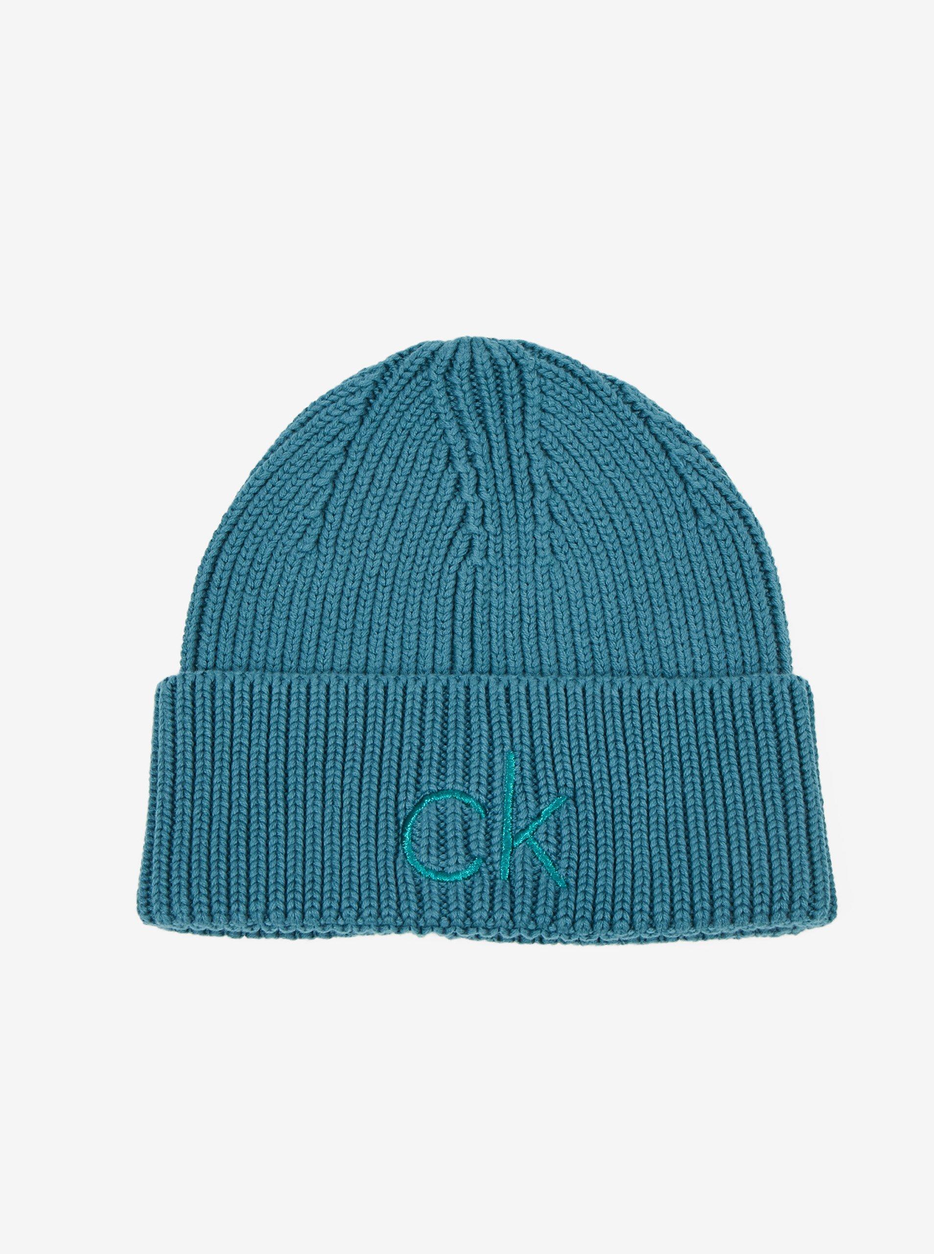 Petrolejová dámská zimní čepice Calvin Klein