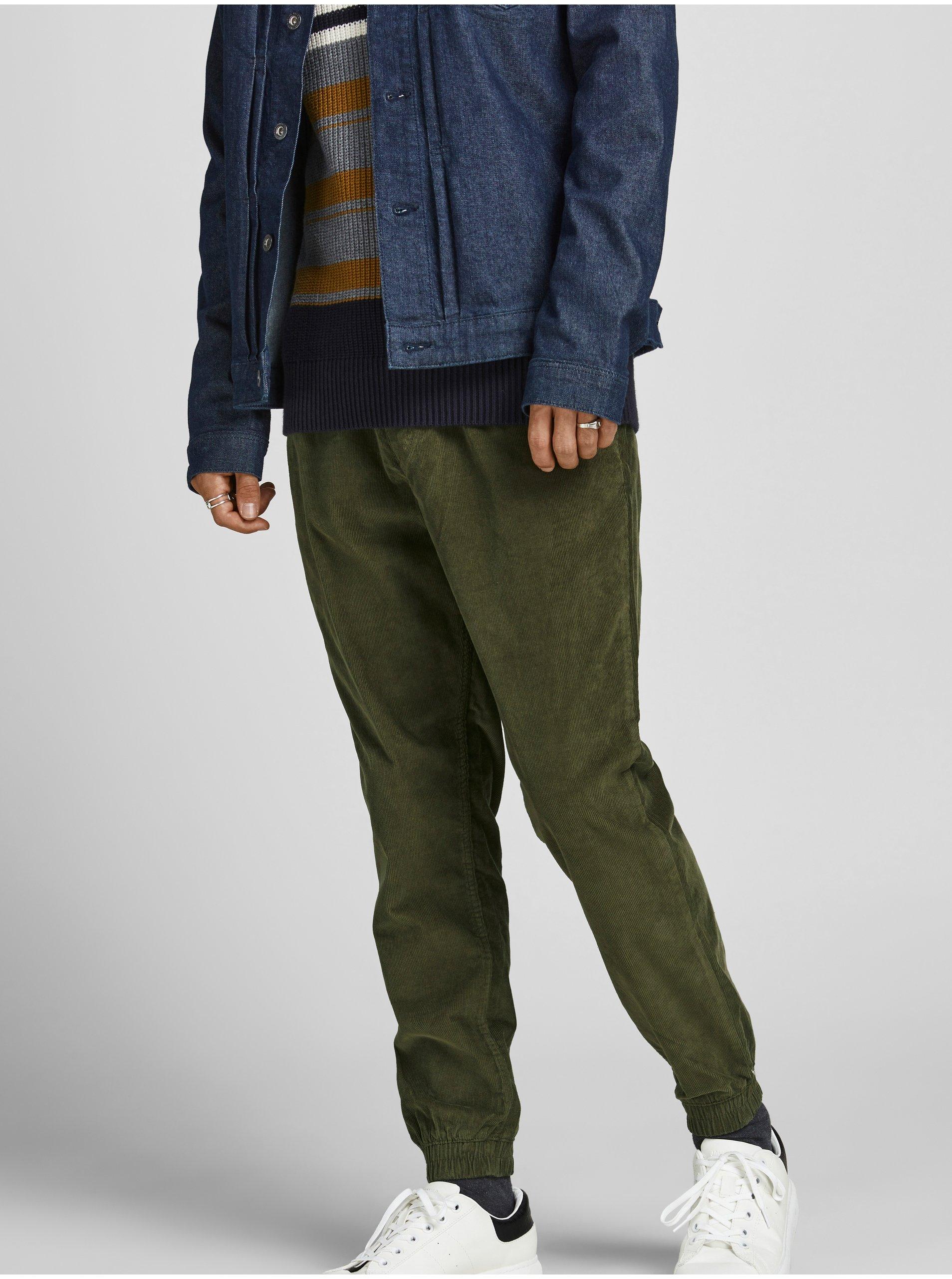 Khaki manšestrové kalhoty Jack & Jones Gordon