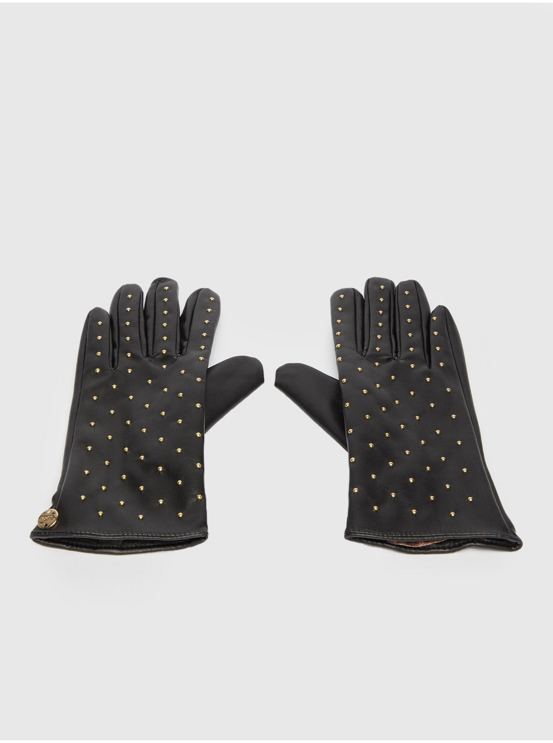 Černé dámské vzorované koženkové rukavice Liu Jo