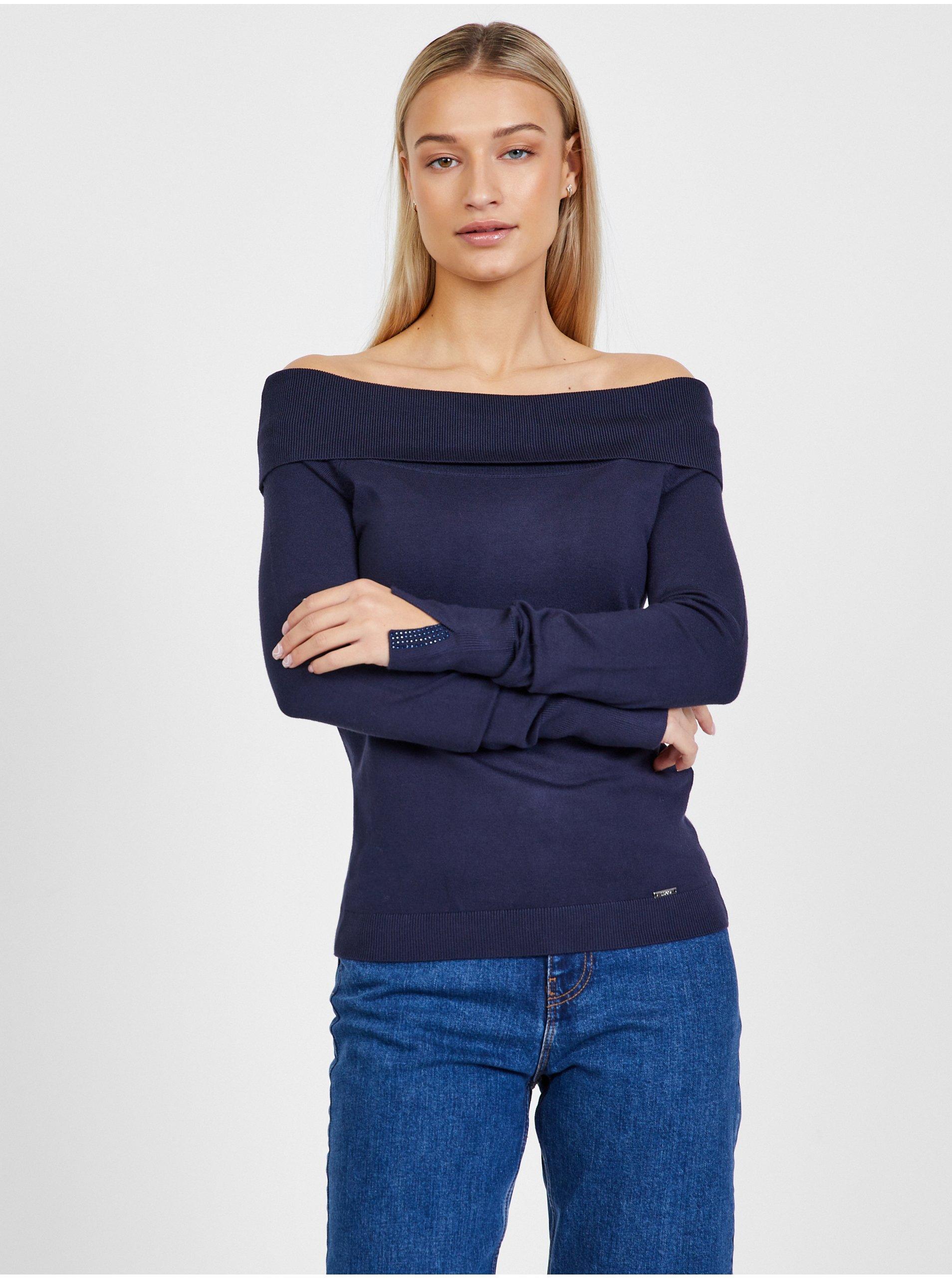 Tmavě modrý dámský svetr s odhalenými rameny Liu Jo