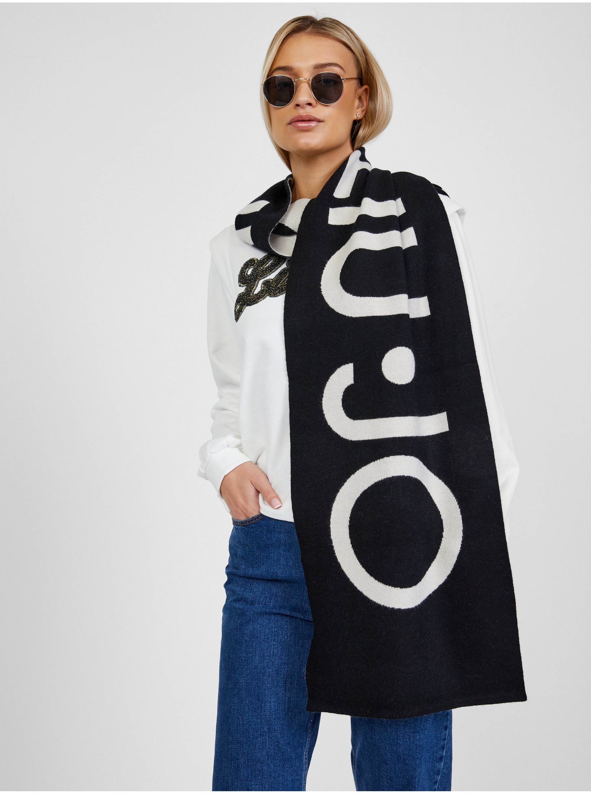 Bílo-černá dámská vzorovaná šála Liu Jo