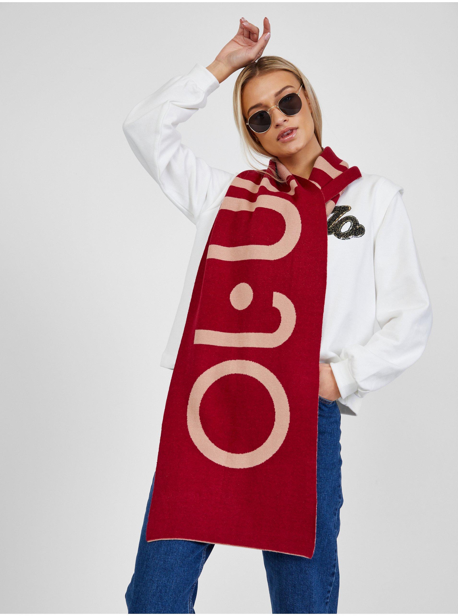 Růžovo-červená dámská vzorovaná šála Liu Jo