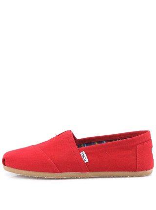 Červené dámske loafers TOMS Canvas Classic