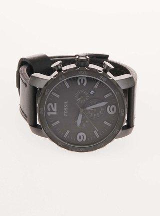 Černé pánské hodinky s koženým páskem Fossil