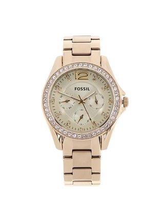 Dámské hodinky ve zlaté barvě s nerezovým páskem Fossil Riley