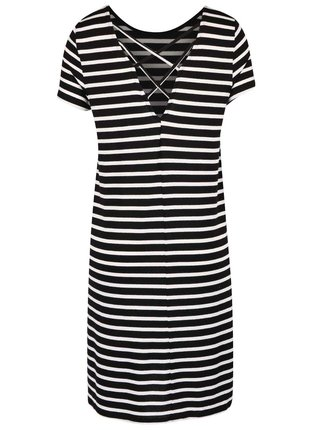 Krémovo-černé pruhované šaty ONLY Bera