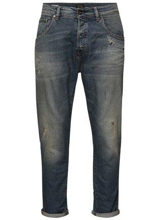Modré džíny s vyšisovaných efektem Jack & Jones Frank
