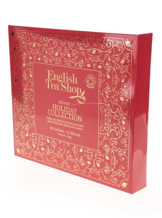 Červená dárková kazeta čajů English Tea Shop Vánoční