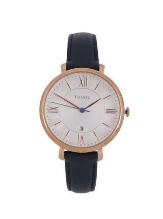 Dámske hodinky v zlatej farbe s tmavomodrým koženým remienkom Fossil Jacqueline