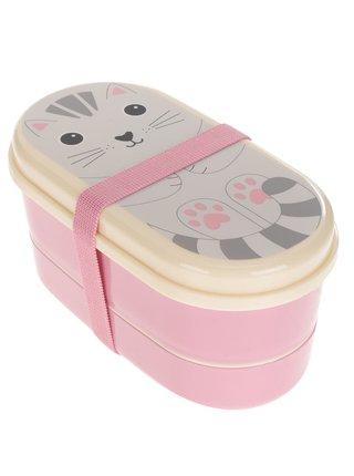 Ružový box na jedlo s potlačou Sass & Belle Nori Cat